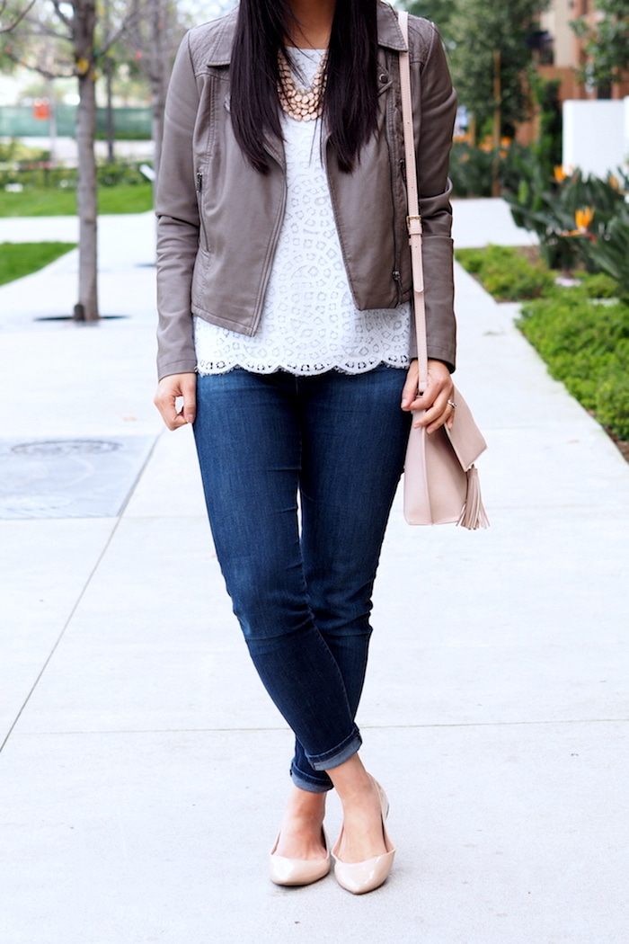 Skinnies + Moto Jacket + Lace Top + Blush Bag