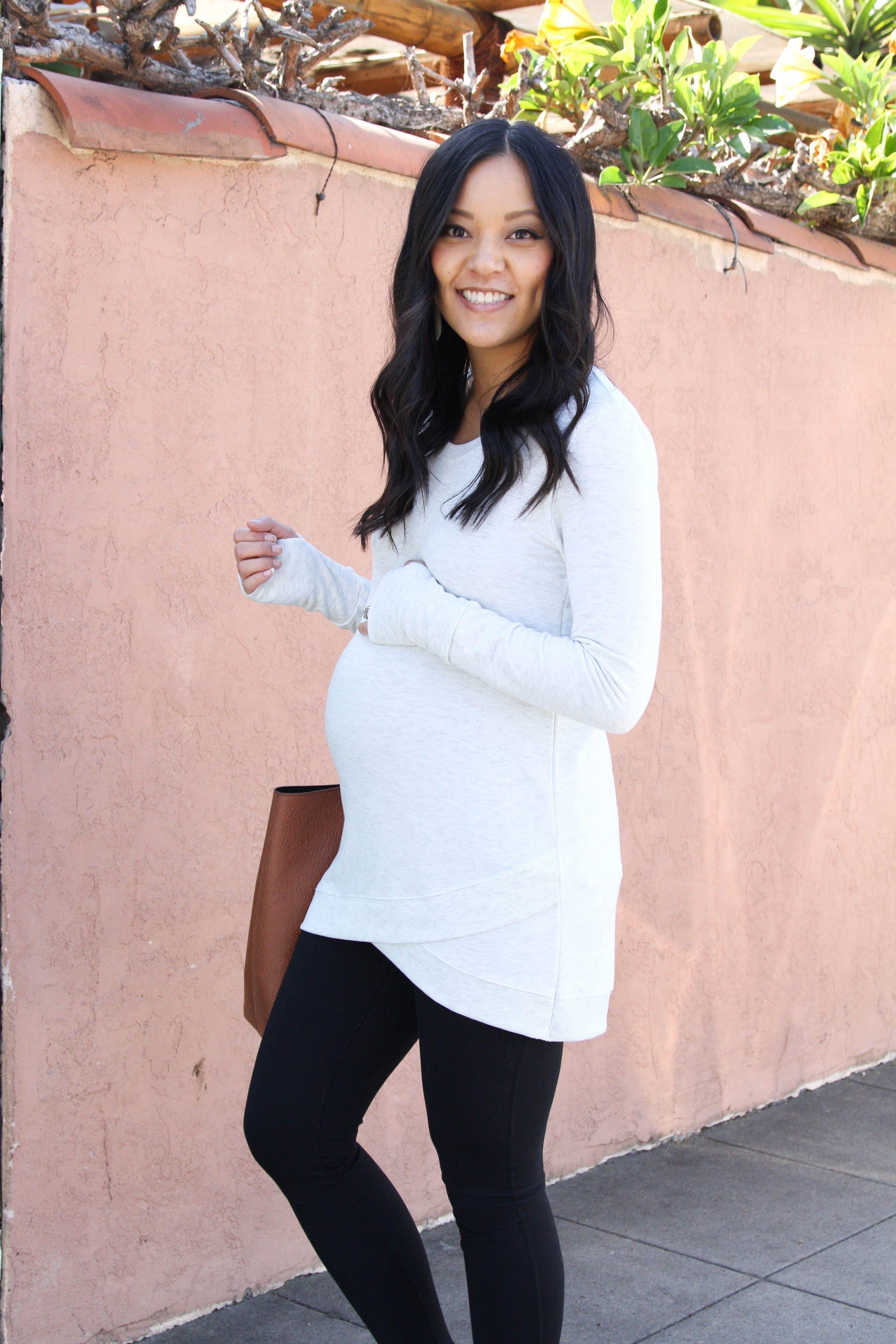 Maternity Athleisure: Cross Hem Sweatshirt + Black Leggings + Tote