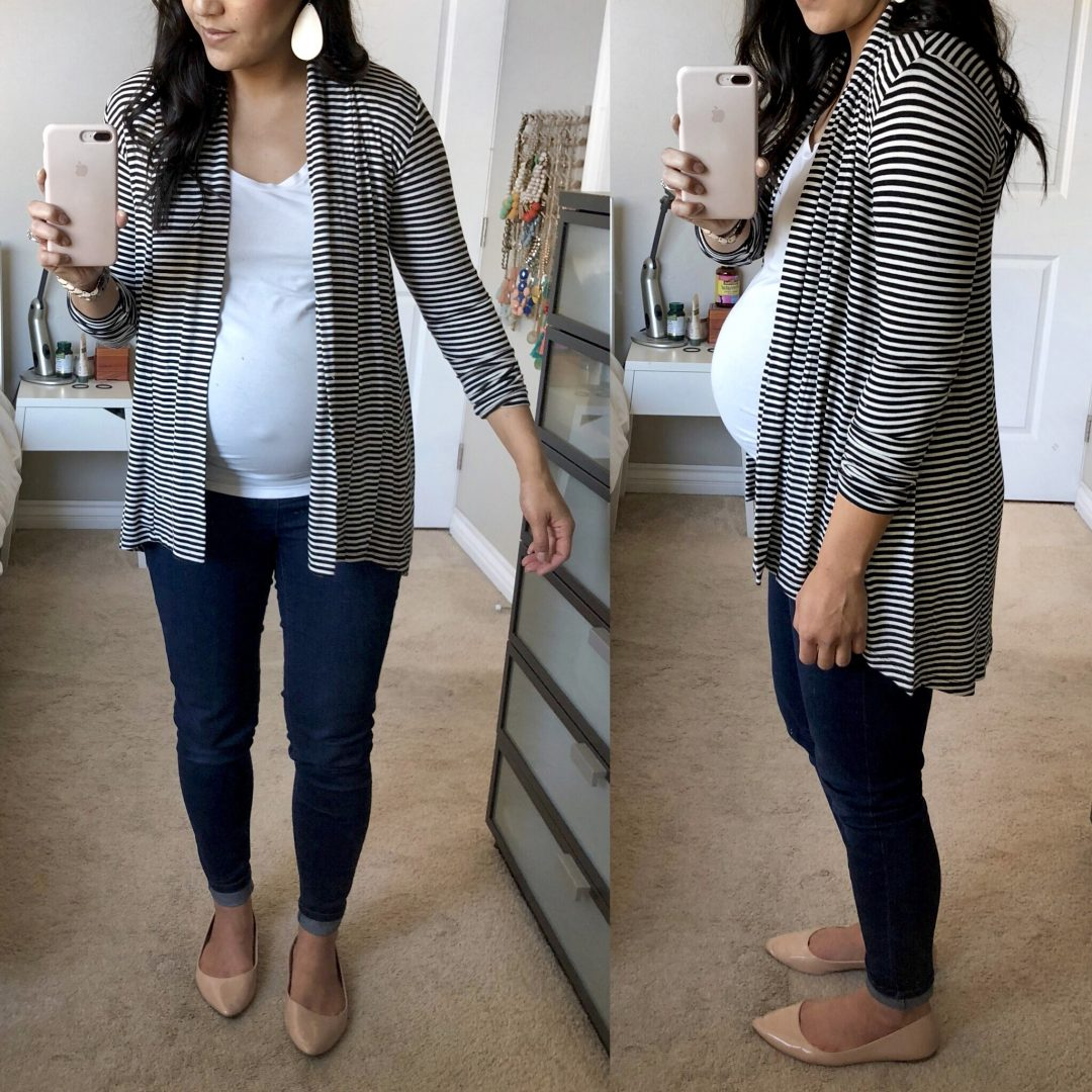 Bobeau Striped Jersey Cardigan Review