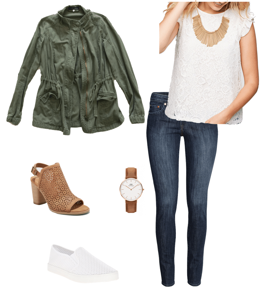Spring Outfit: lace tee + utility jacket