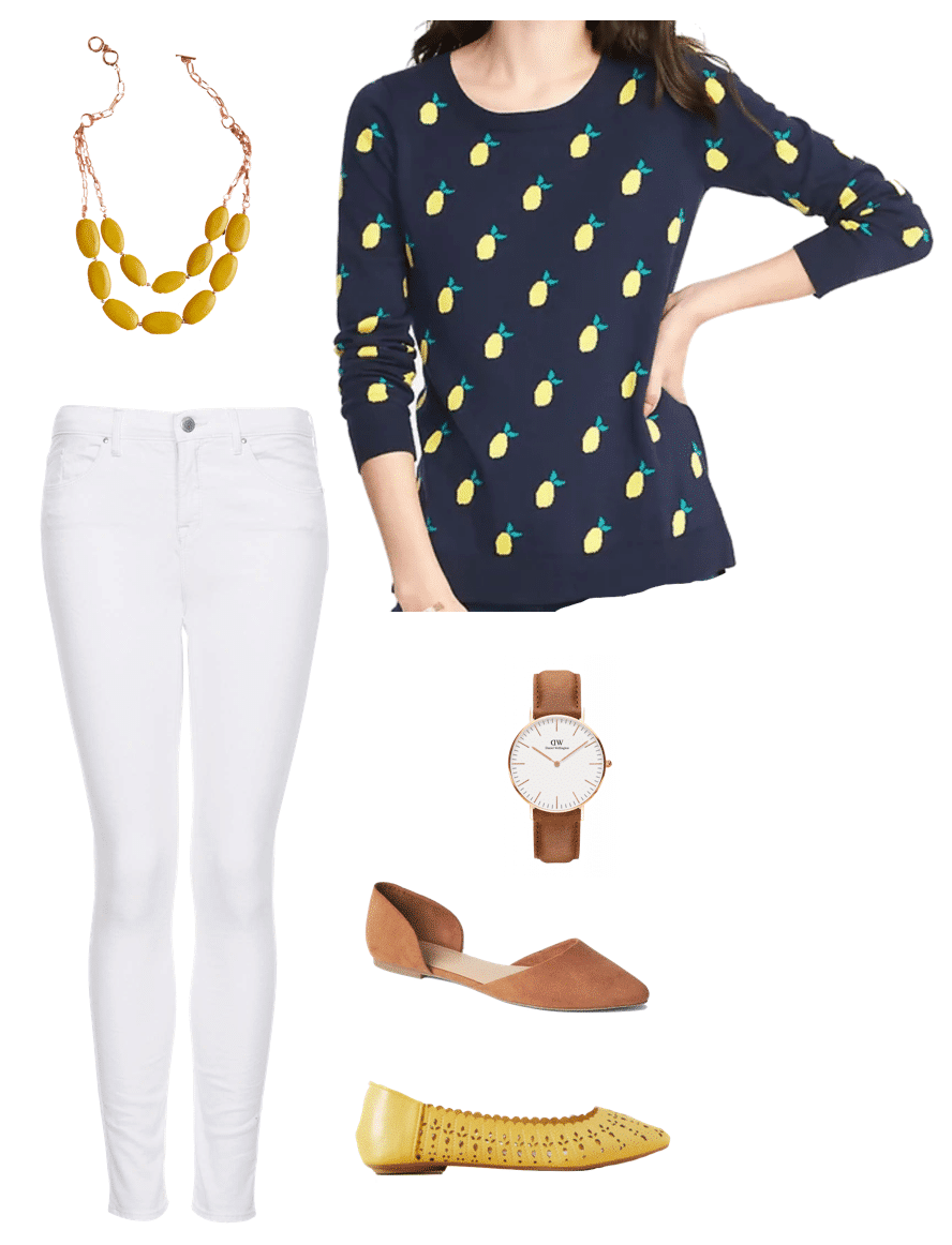 Spring Outfit: Lemon Print Sweater with Yellow Flats and Yellow Statement Necklace
