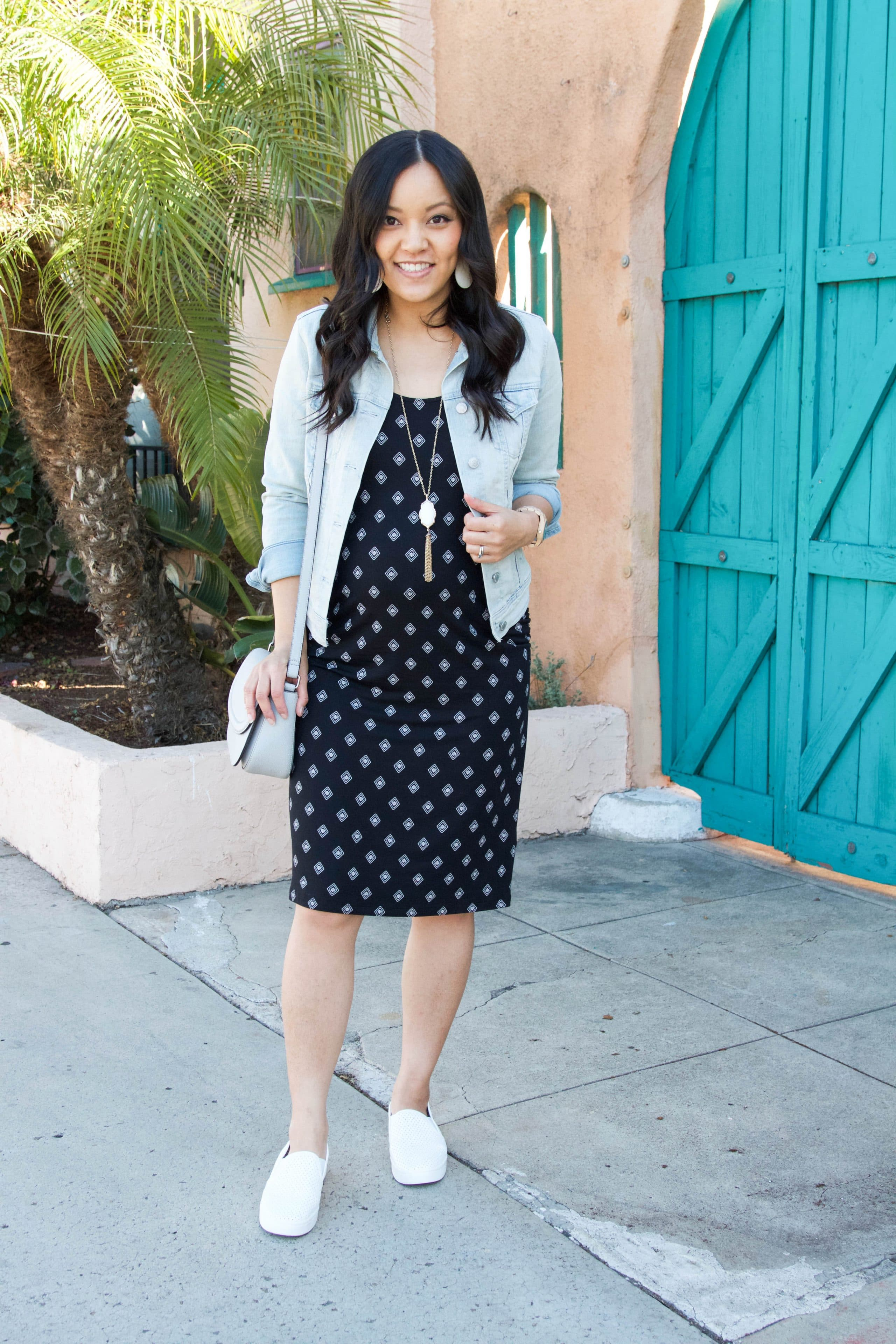 Printed Dress + Jean Jacket + White Slip Ons + Statement Necklace