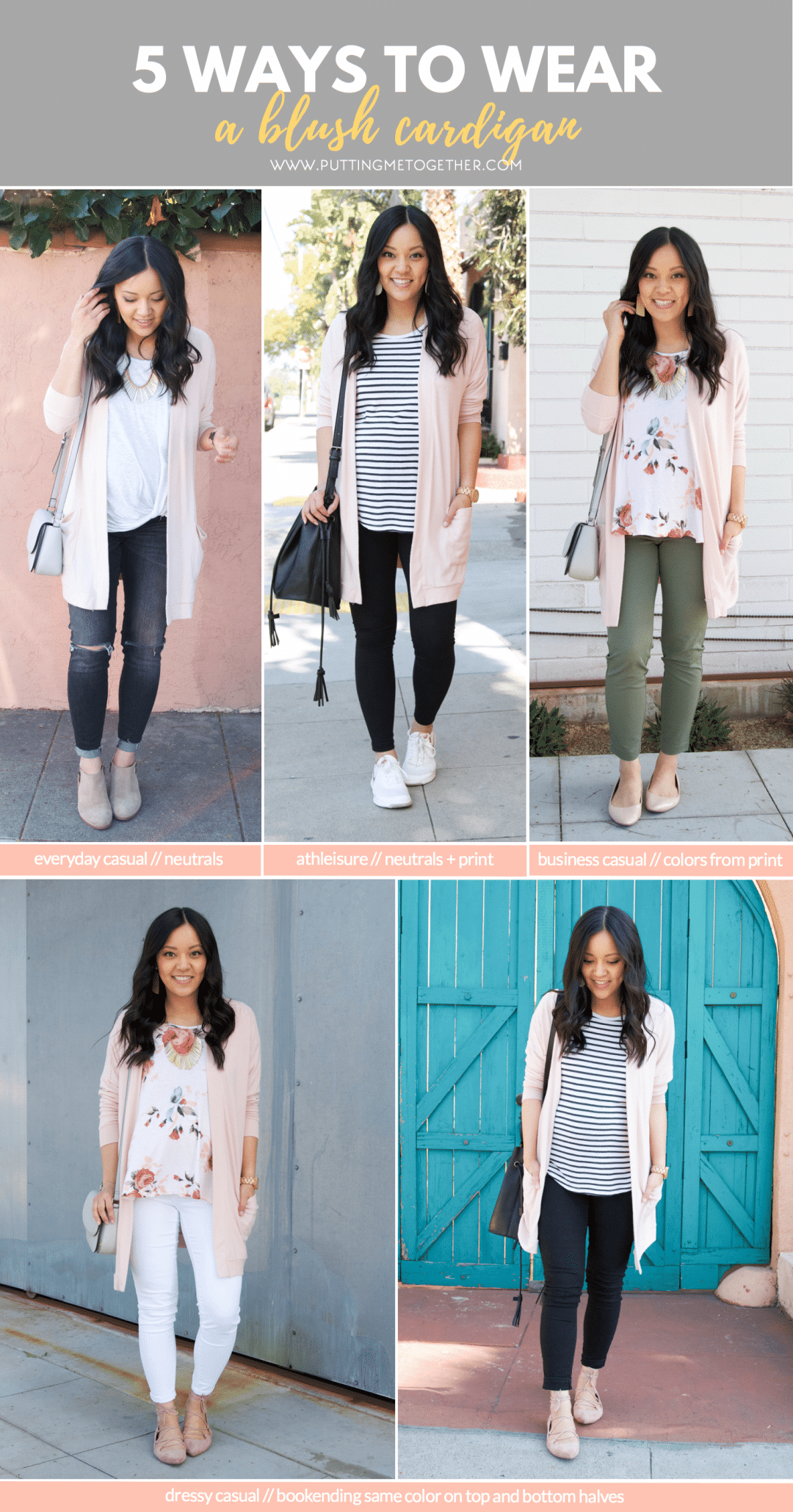 Blush Cardigan Outfits for Spring