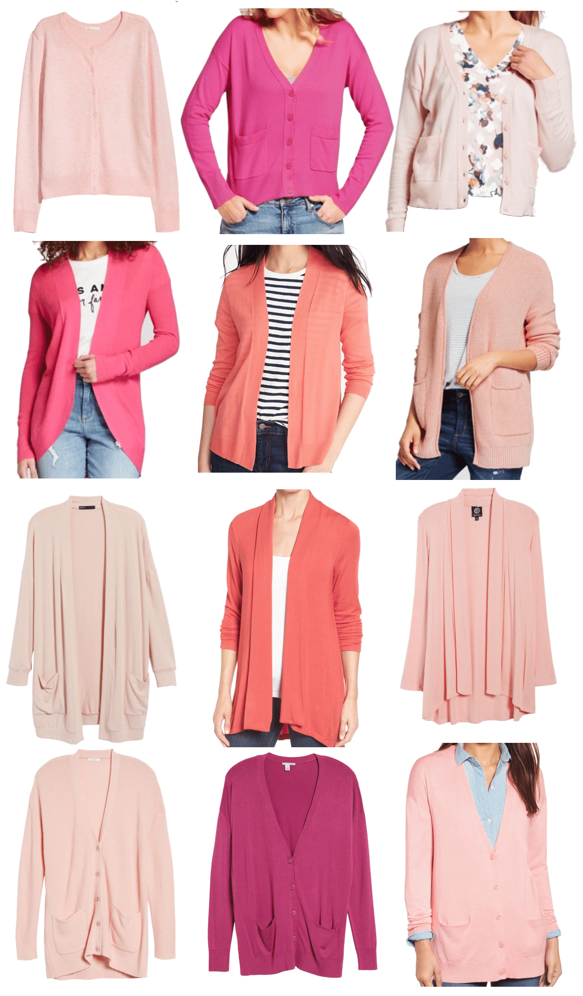Pin, Blush, and Coral Cardigans for Spring