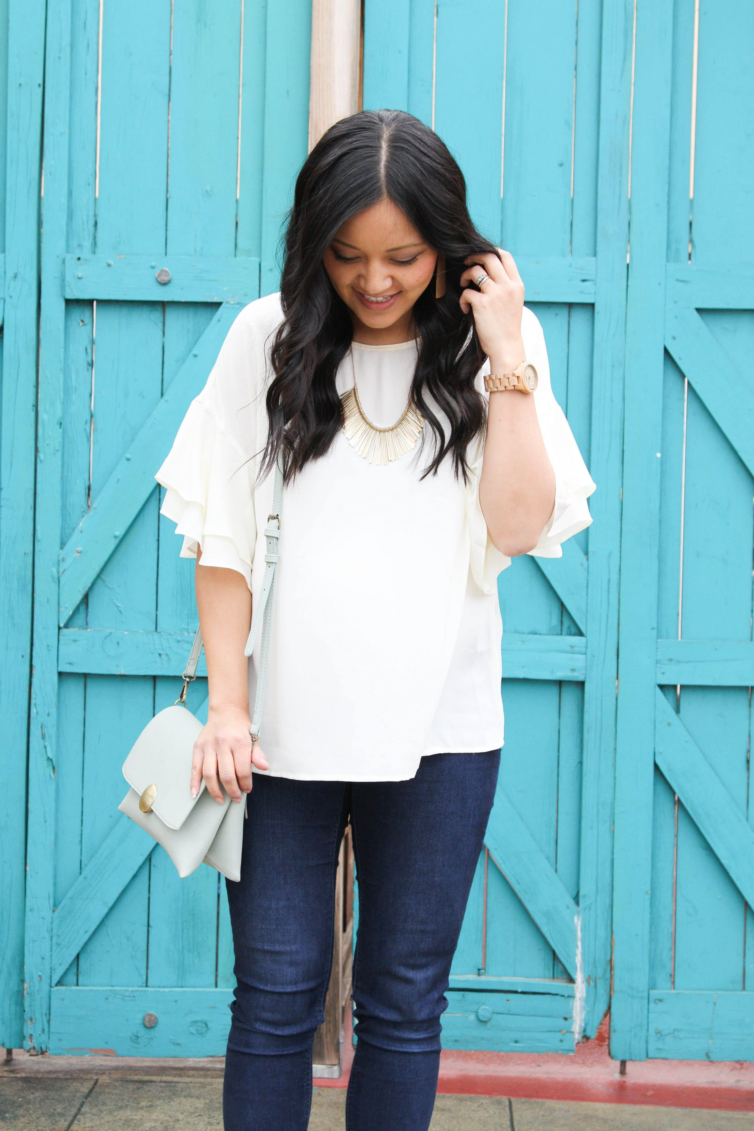 White Bell Sleeves + Gold Bib Necklace + Jord Watch + Skinnies + Mint Bag