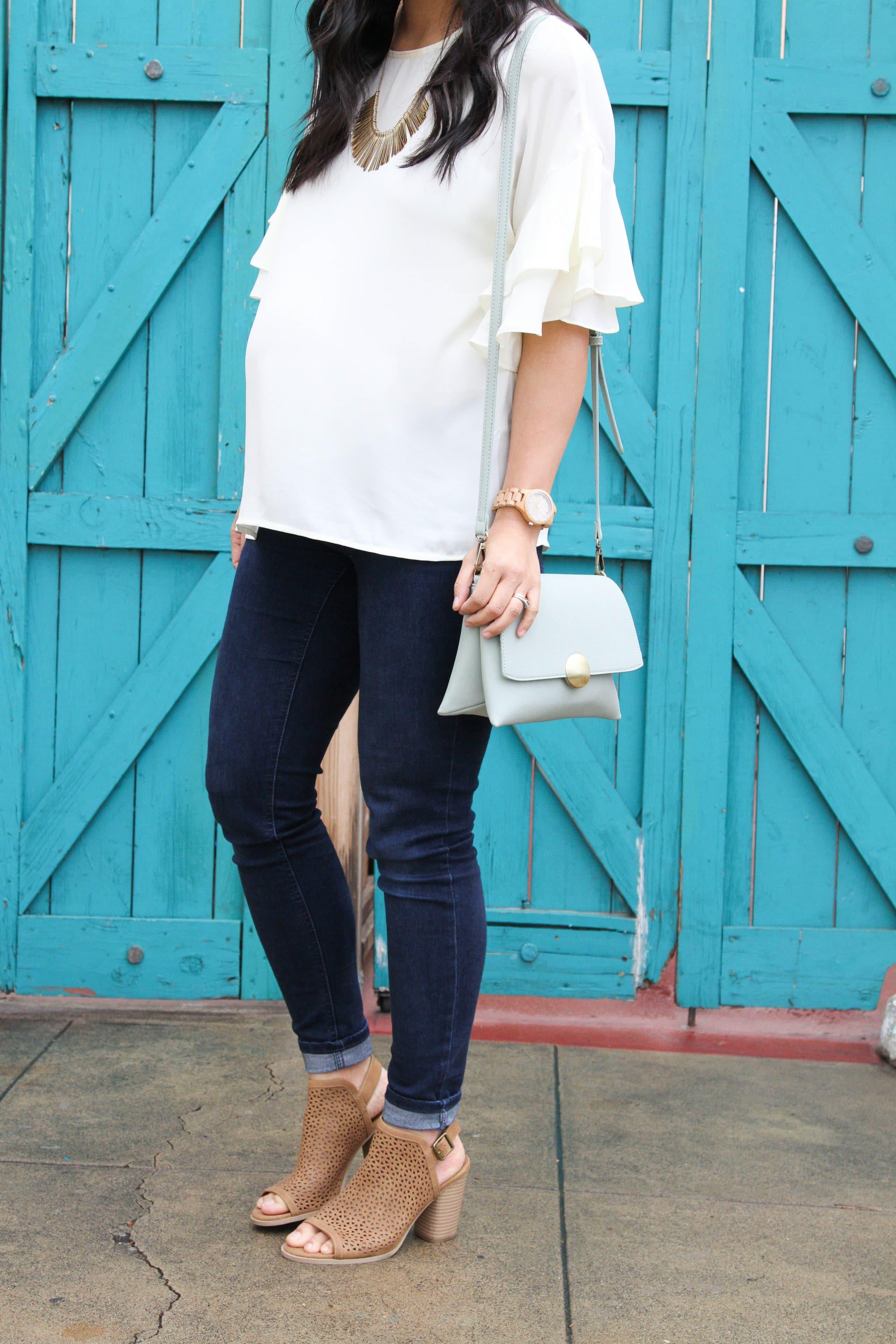 White Bell Sleeves Blouse + Skinnies + Peep Toe Booties + Mint Bag
