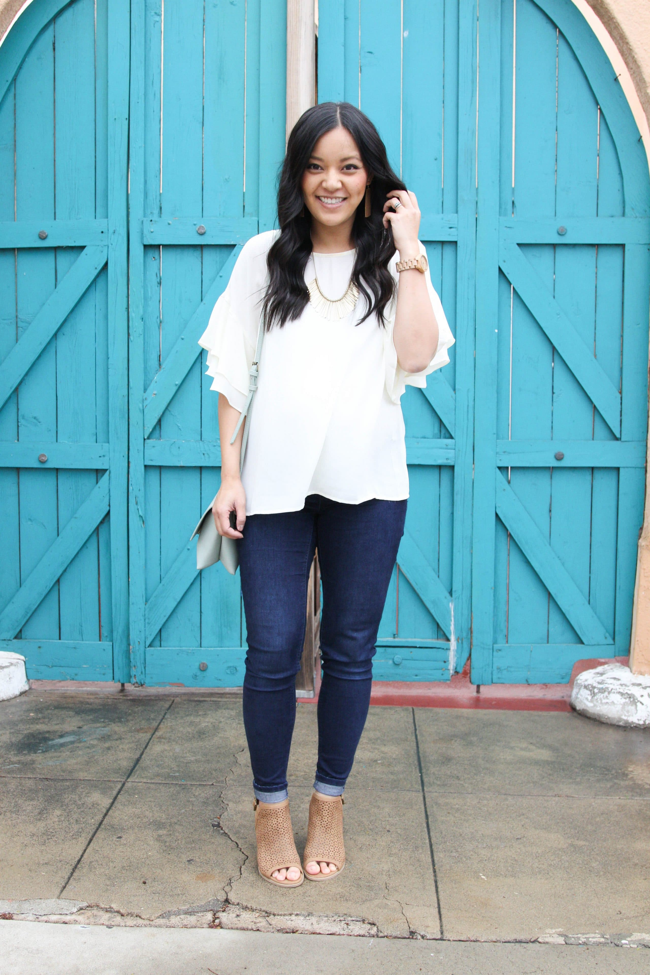 White Blouse + Gold Bib Necklace + Skinny Jeans + Peep Toe Booties