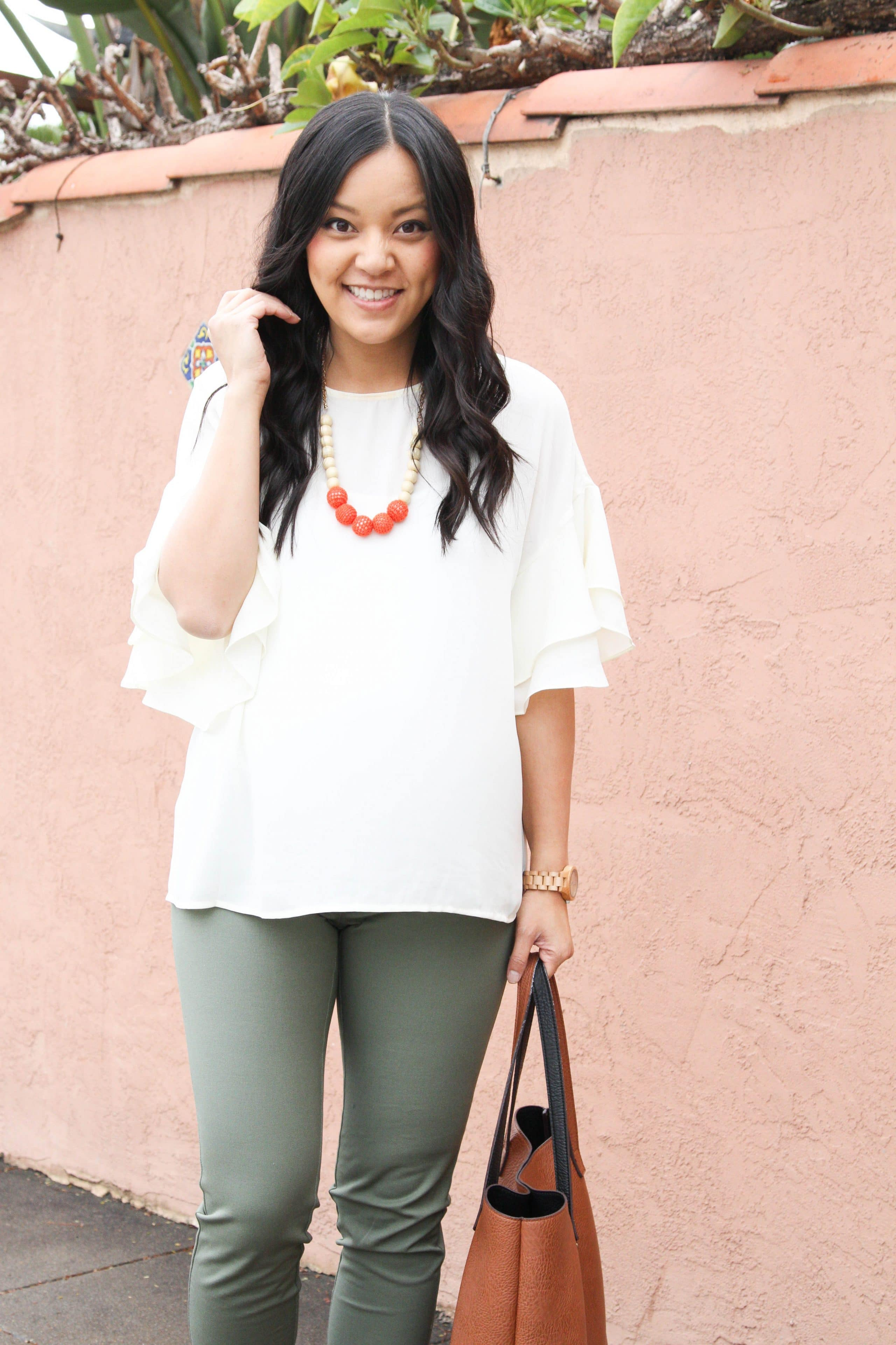 Green Chinos + Bell sleeve blouse + Statement Necklace + Tote