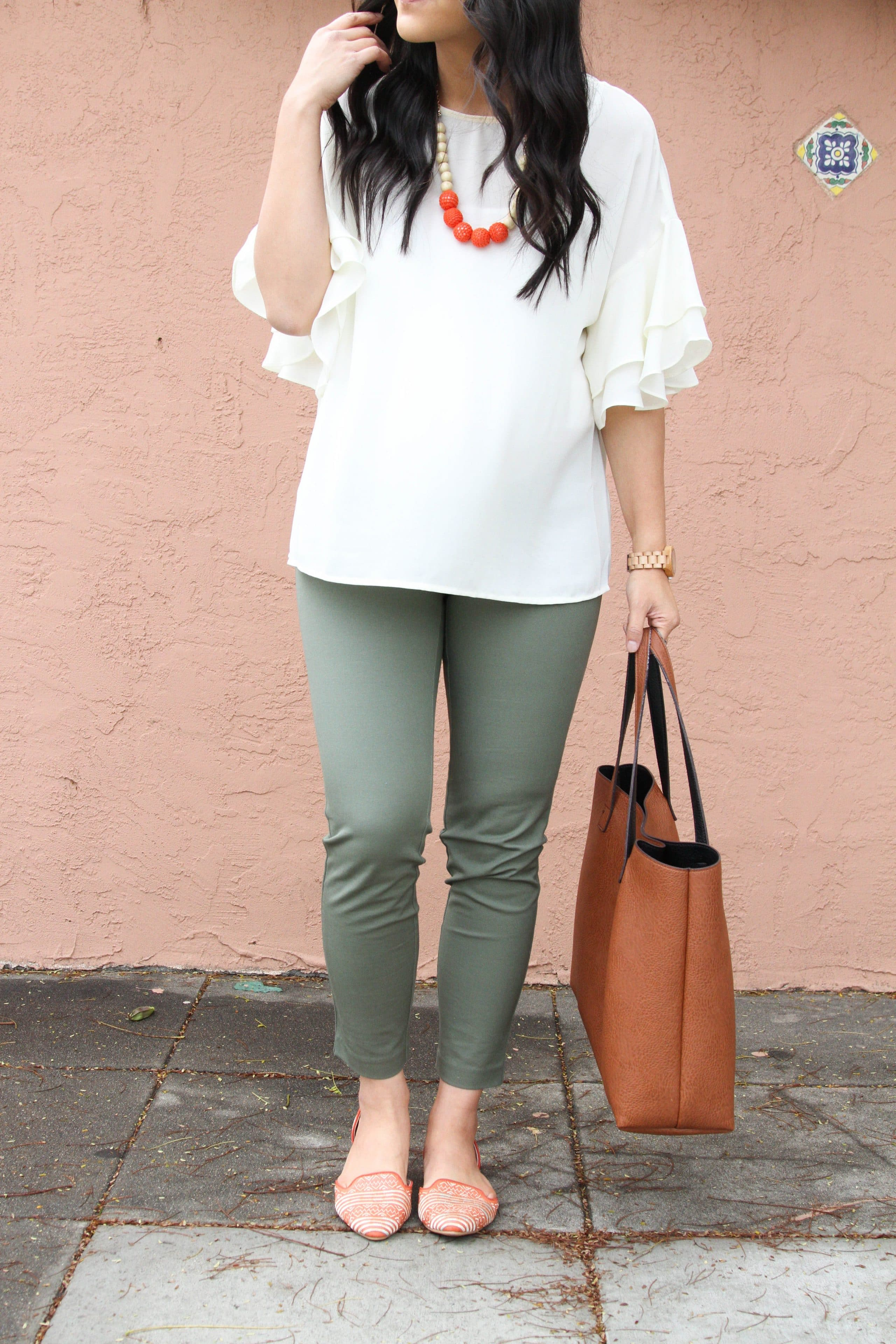 White Bell Sleeves Blouse + Green Chinos + Cognac Tote + Statement Necklace