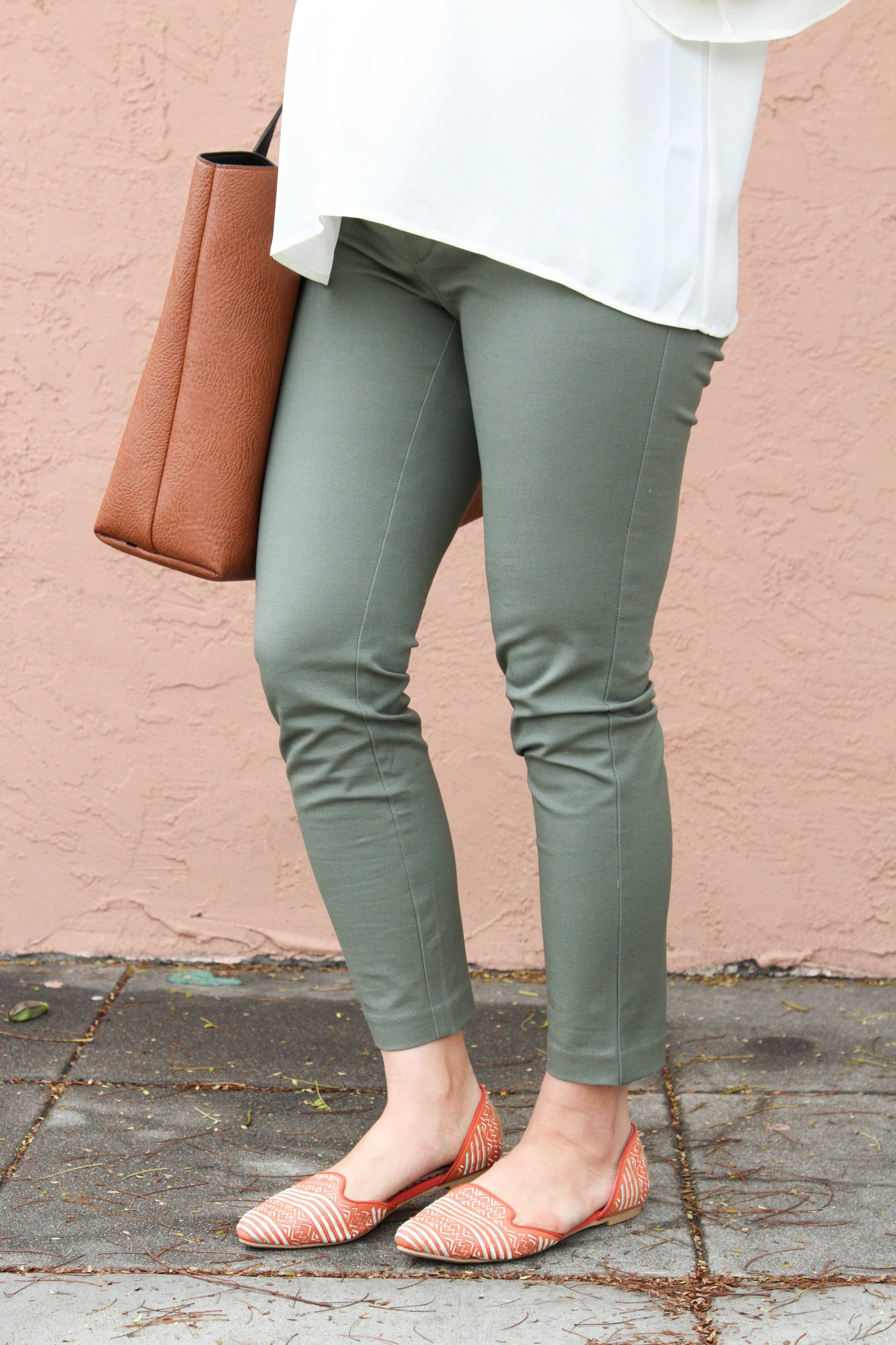 Statement Flats + Green Chinos + Brown Tote