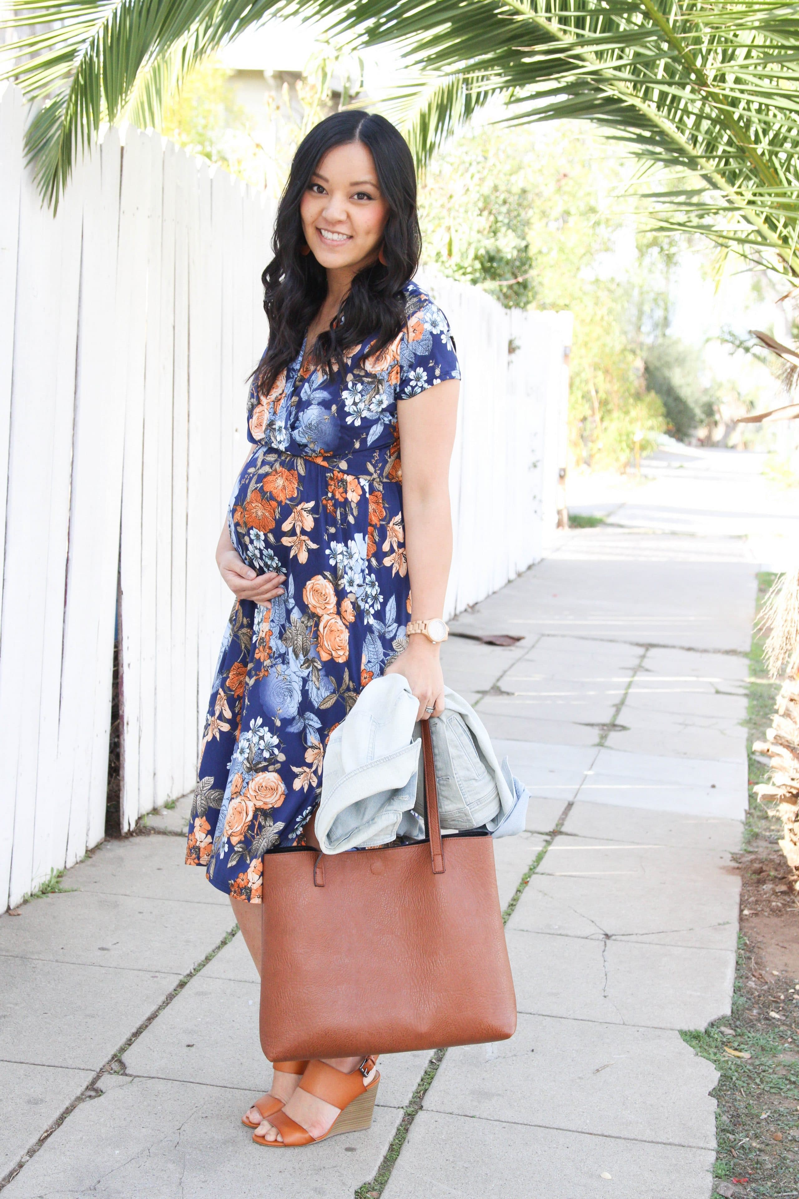 Floral Midi Dress + Cognac Tote + Cognac Heels + Jord Watch