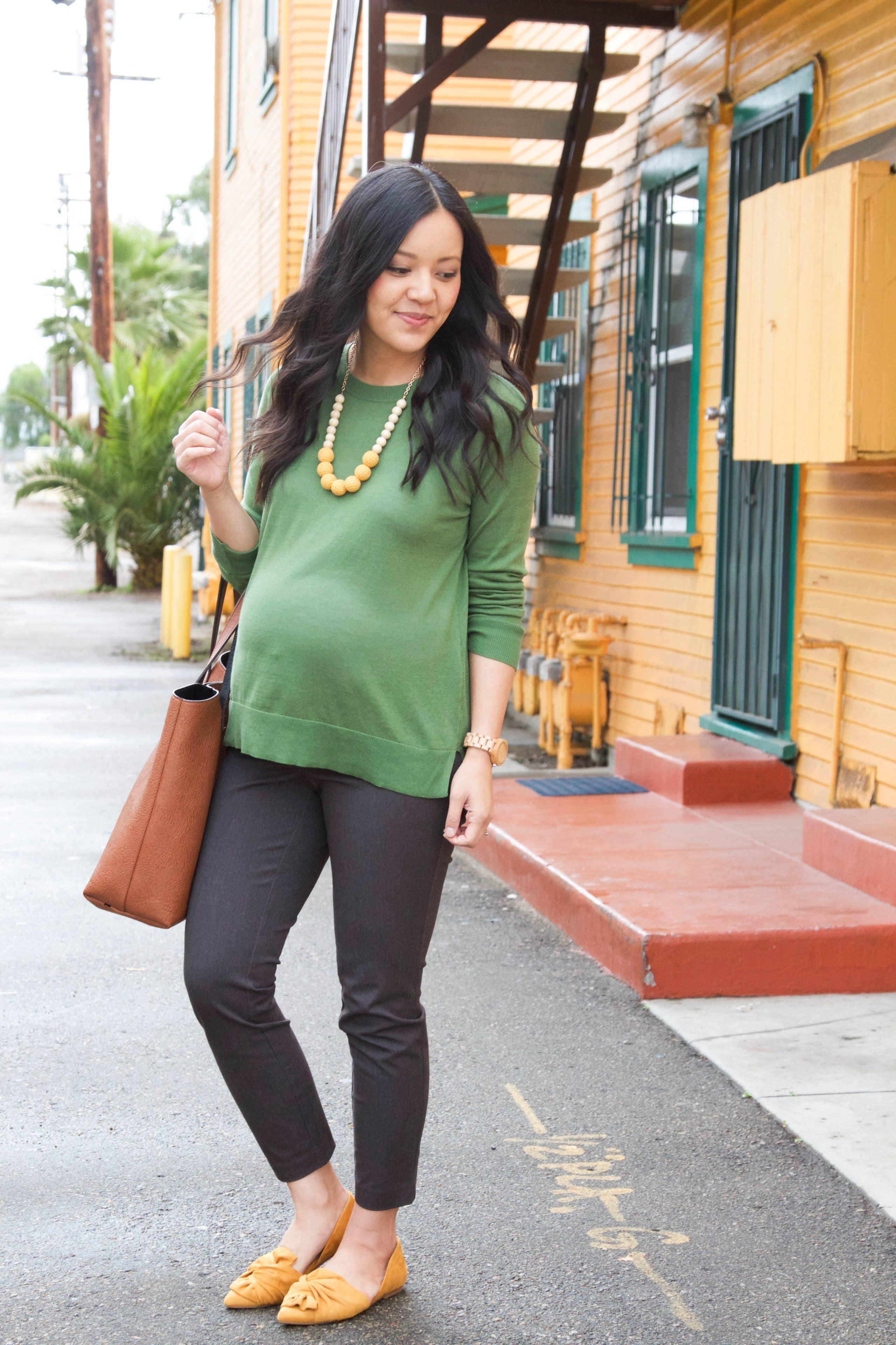 Gray Chinos + Green Sweater + Mustard flats + Cognac Bag