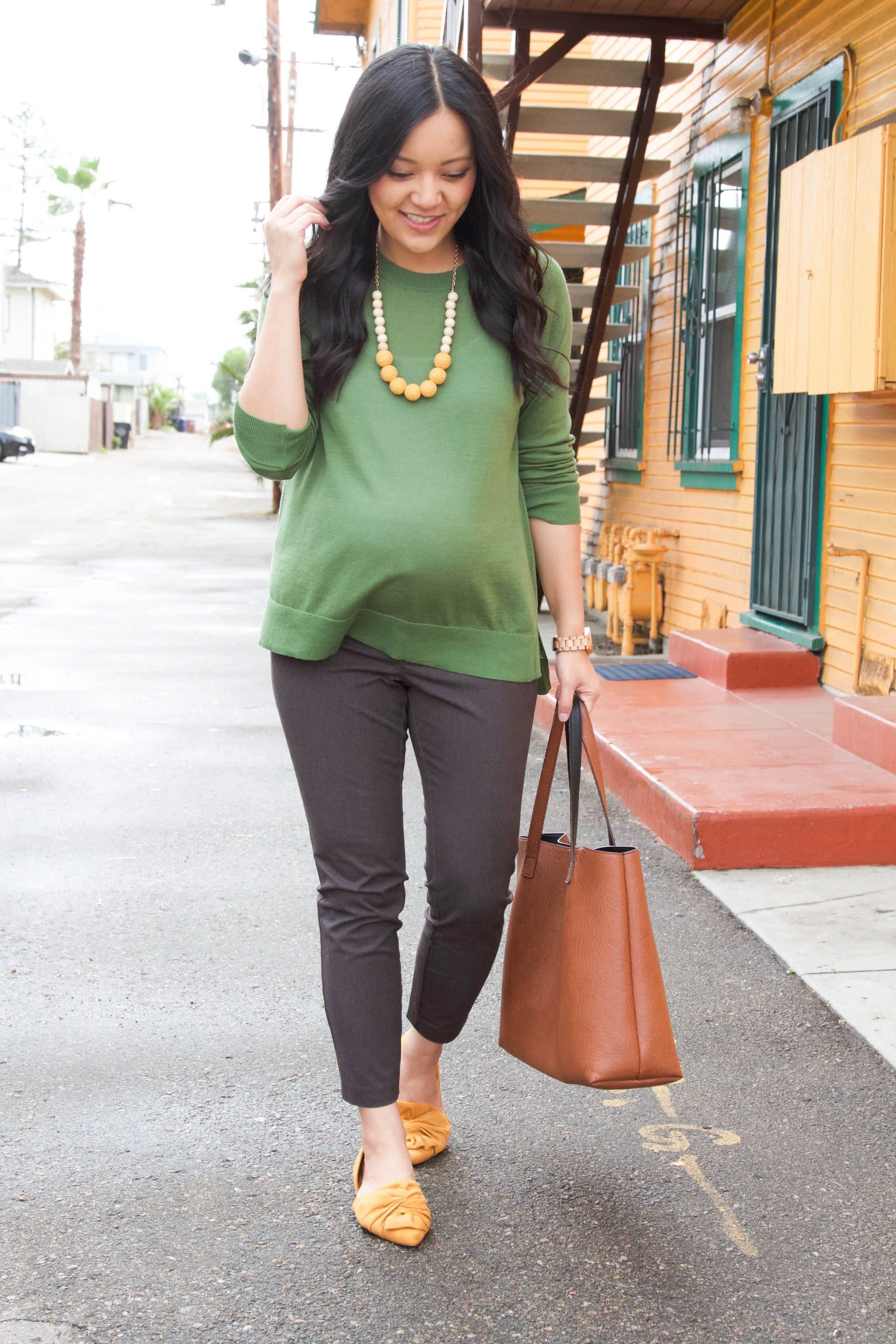 Green Sweater + Gray Chinos + Mustard Flats + Statement Necklace
