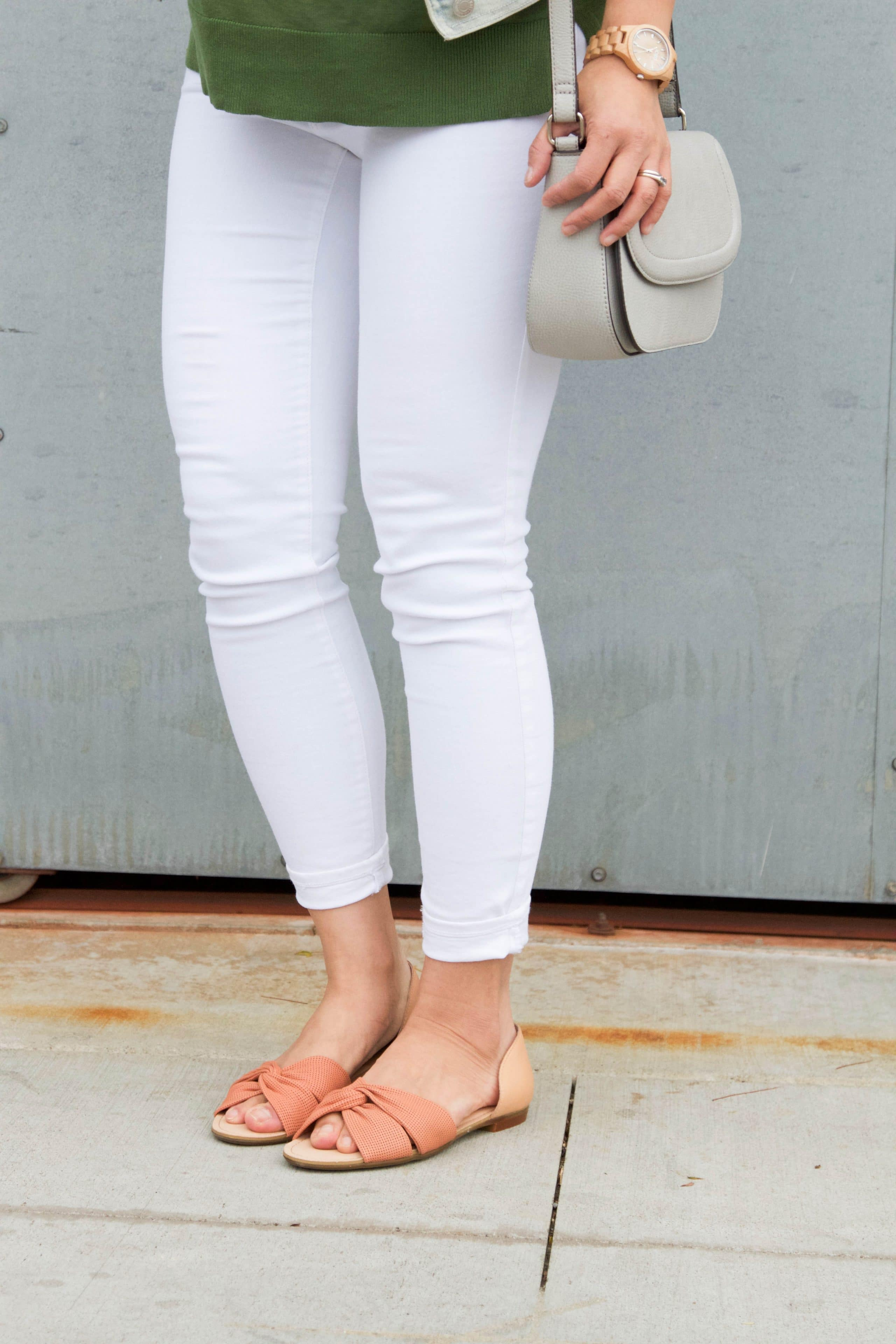 Peach Sandals + White Jeans + Green Sweater