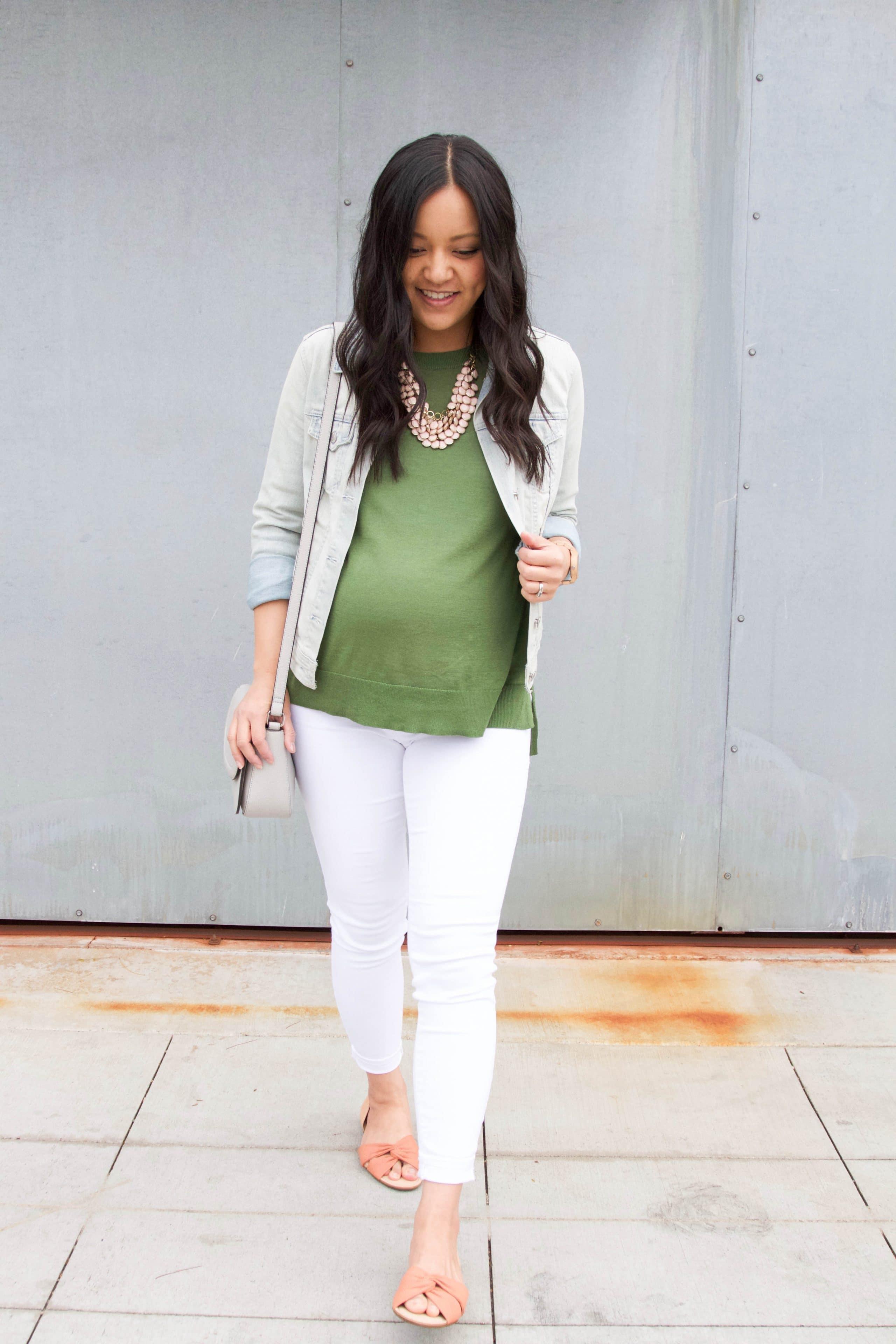 Denim Jacket + White Jeans + Slides + Statement Necklace + Green Sweater