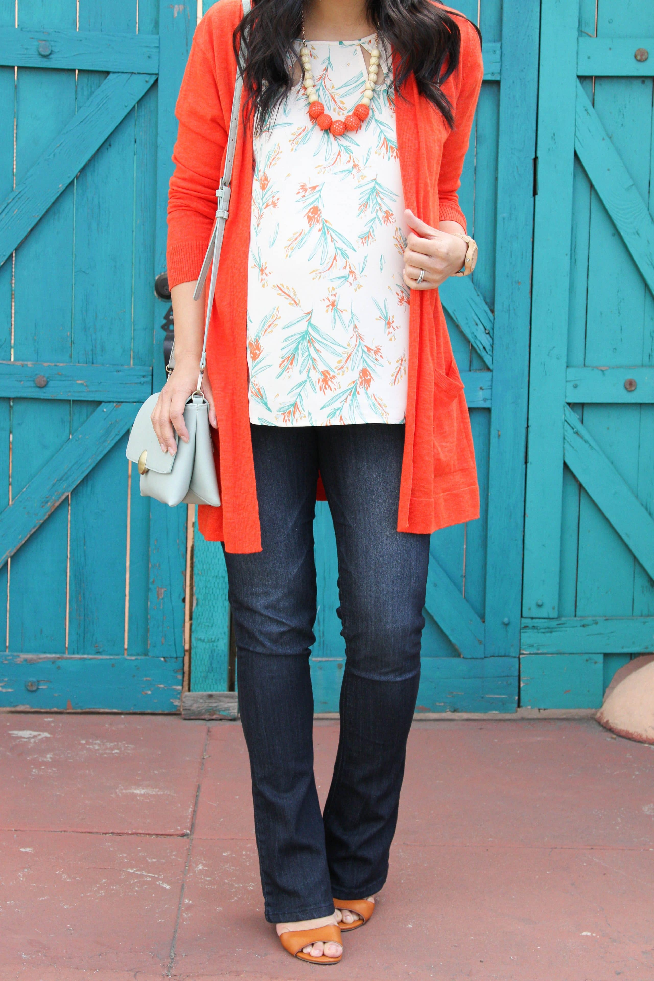 Orange Cardi + Floral Top + Statement Necklace + Bootcut Jeans + Mint Bag