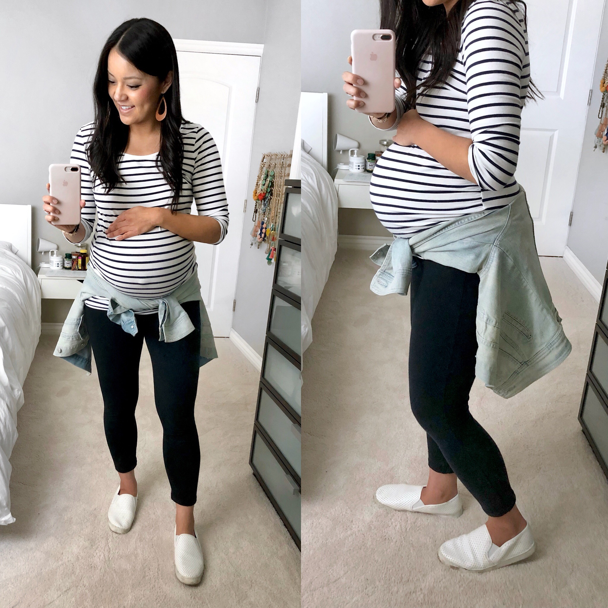 maternity style: striped tee + leggings + white sneakers