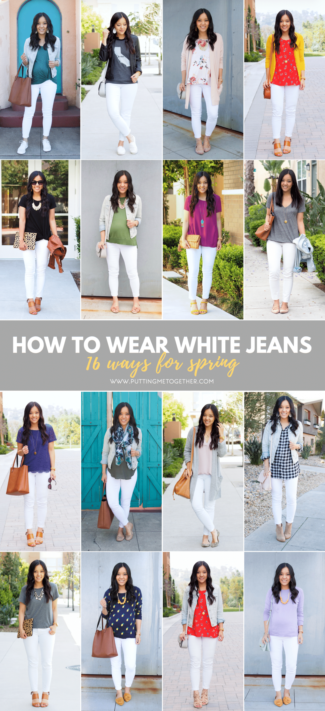 16 Outfits With White Jeans for Spring