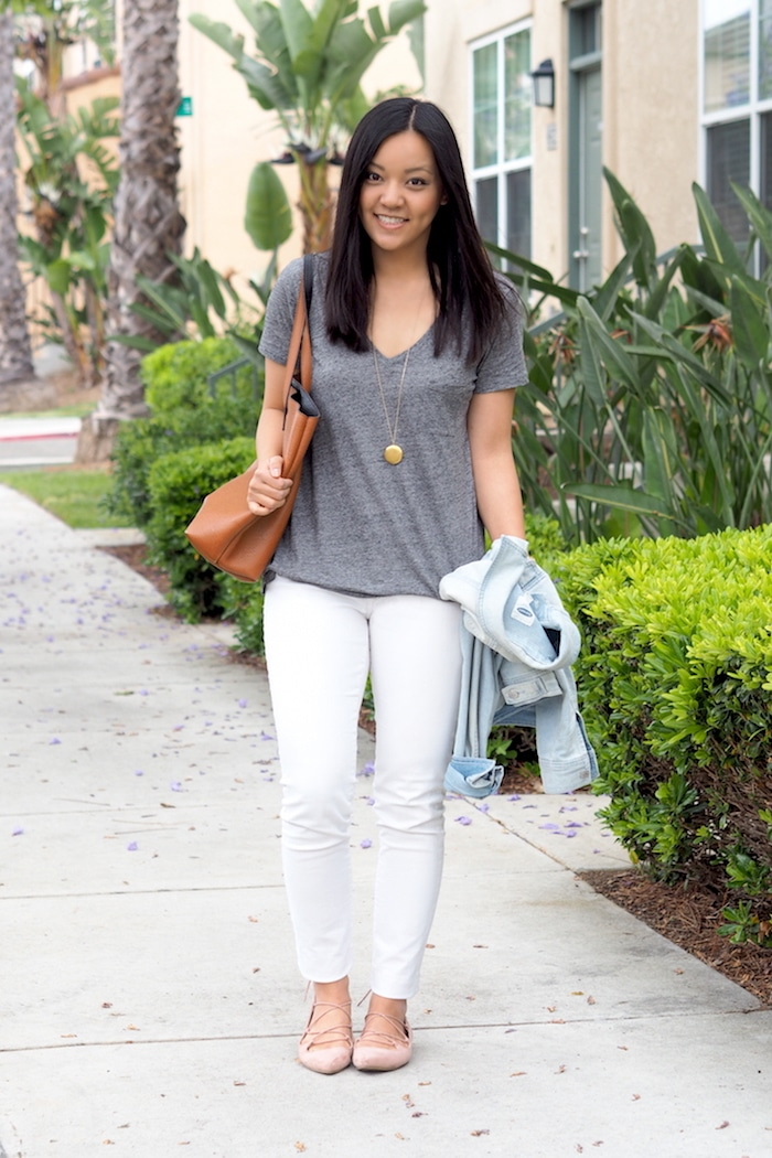 Grey Tee + White Jeans + Blush Lace Ups + Cognac Bag