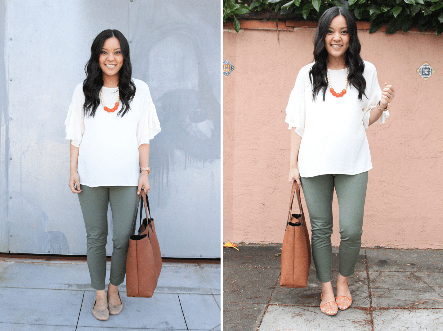 Making a Business Casual Outfits Interesting With Colored Flats