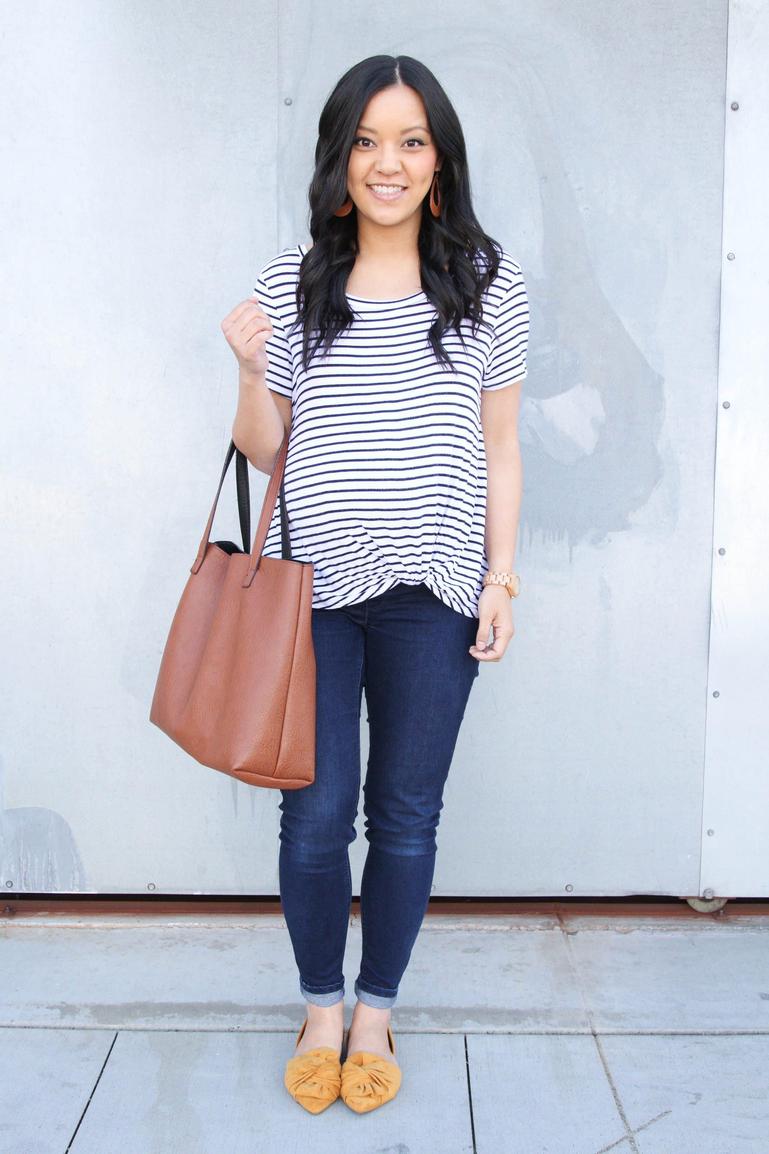Striped Twist Tee + Jeans + Mustard Flats