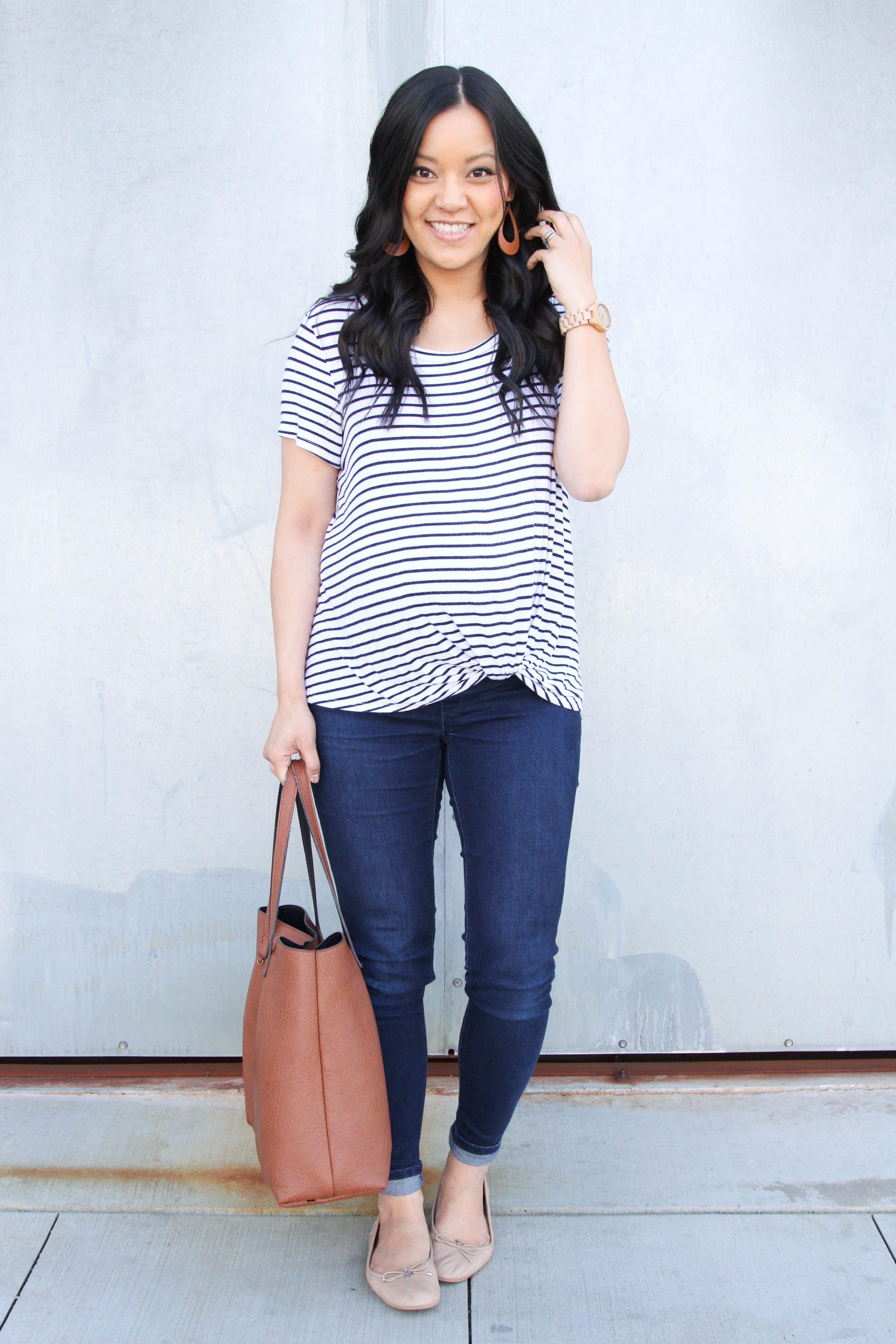 Striped Twist Tee + Jeans + Nude Flats