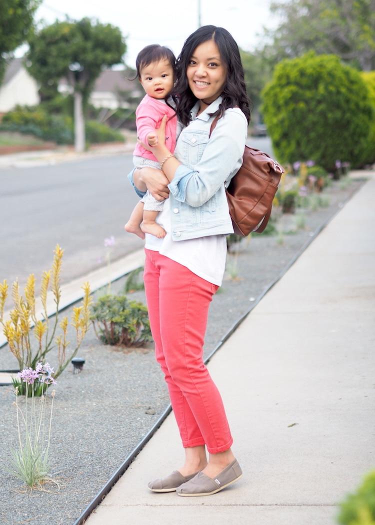 Coral Jeans + Denim Jacket + Leather Backpack