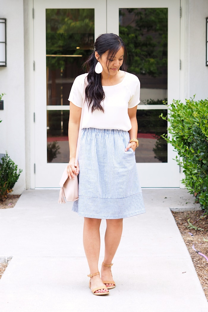 Blue Stripe Skirt + White Tee + Statement Earrings + Sandals