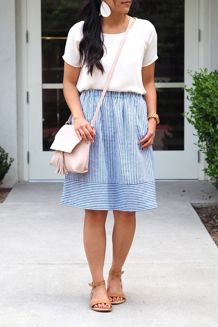 Striped Skirt + White Tee + Blush Bag + Statement Earrings