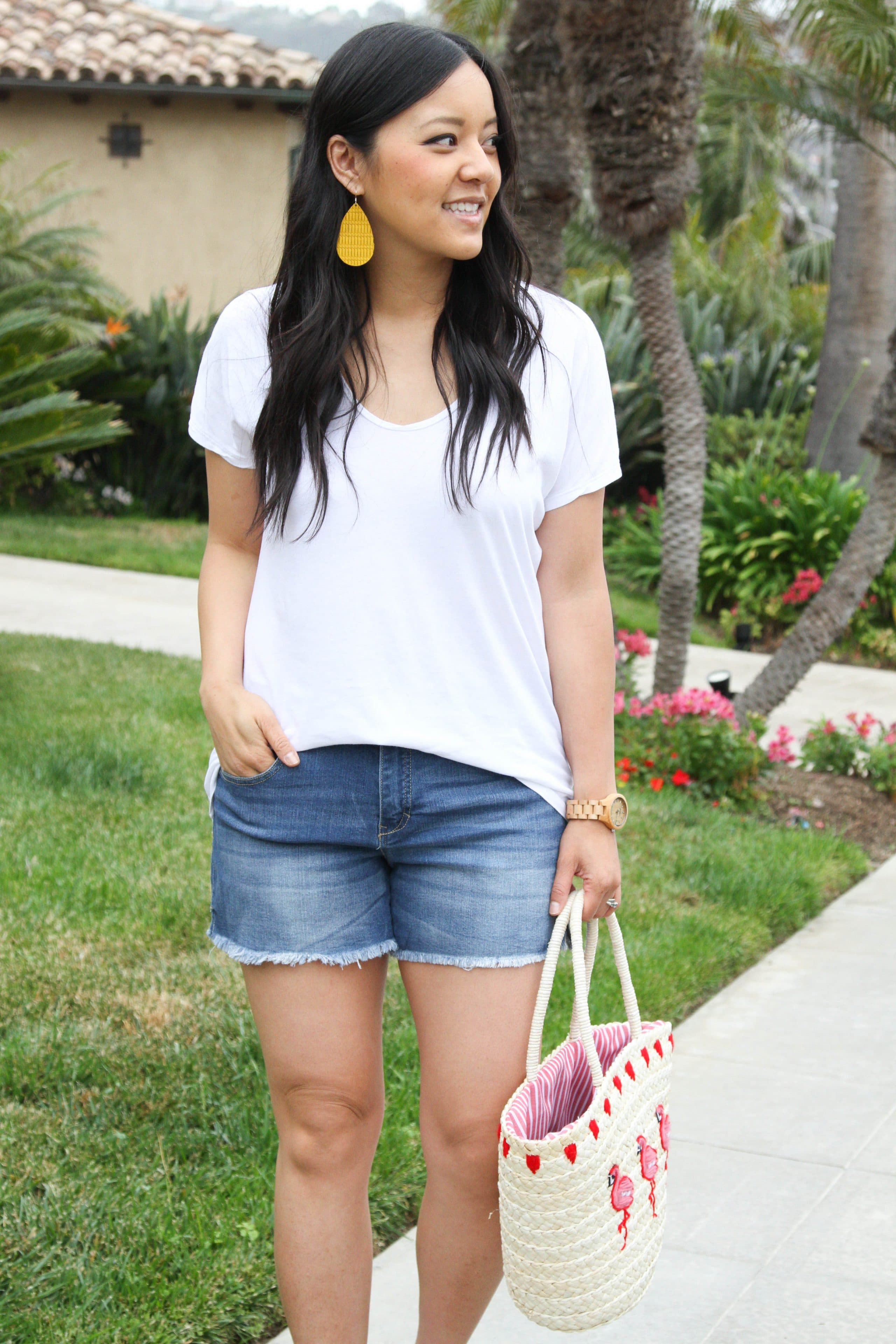 White Tee + Jean Shorts + Straw Tote + Statement Earrings