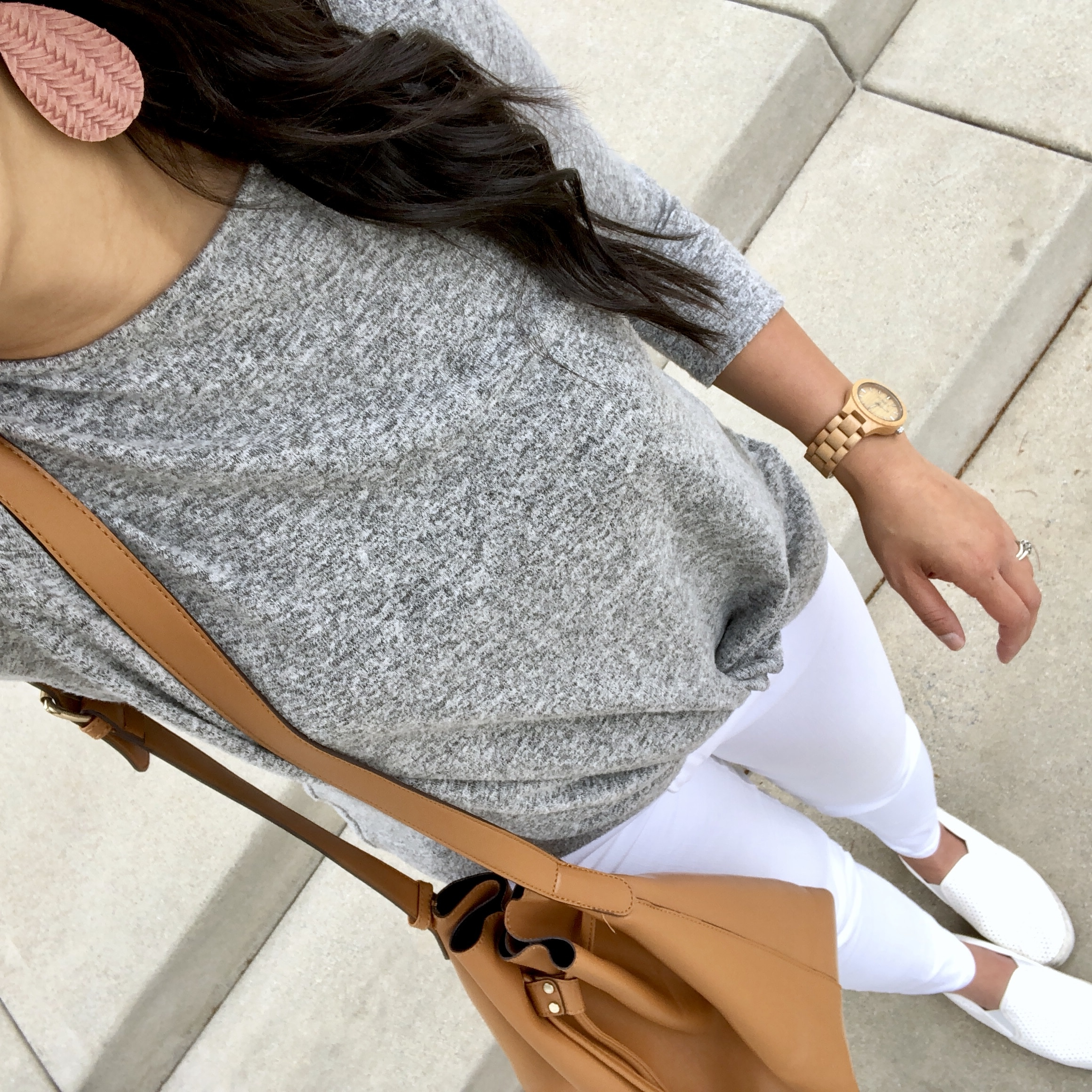 Fleece Twist Top + White Jeans + White Slip ons + Pink Earrings