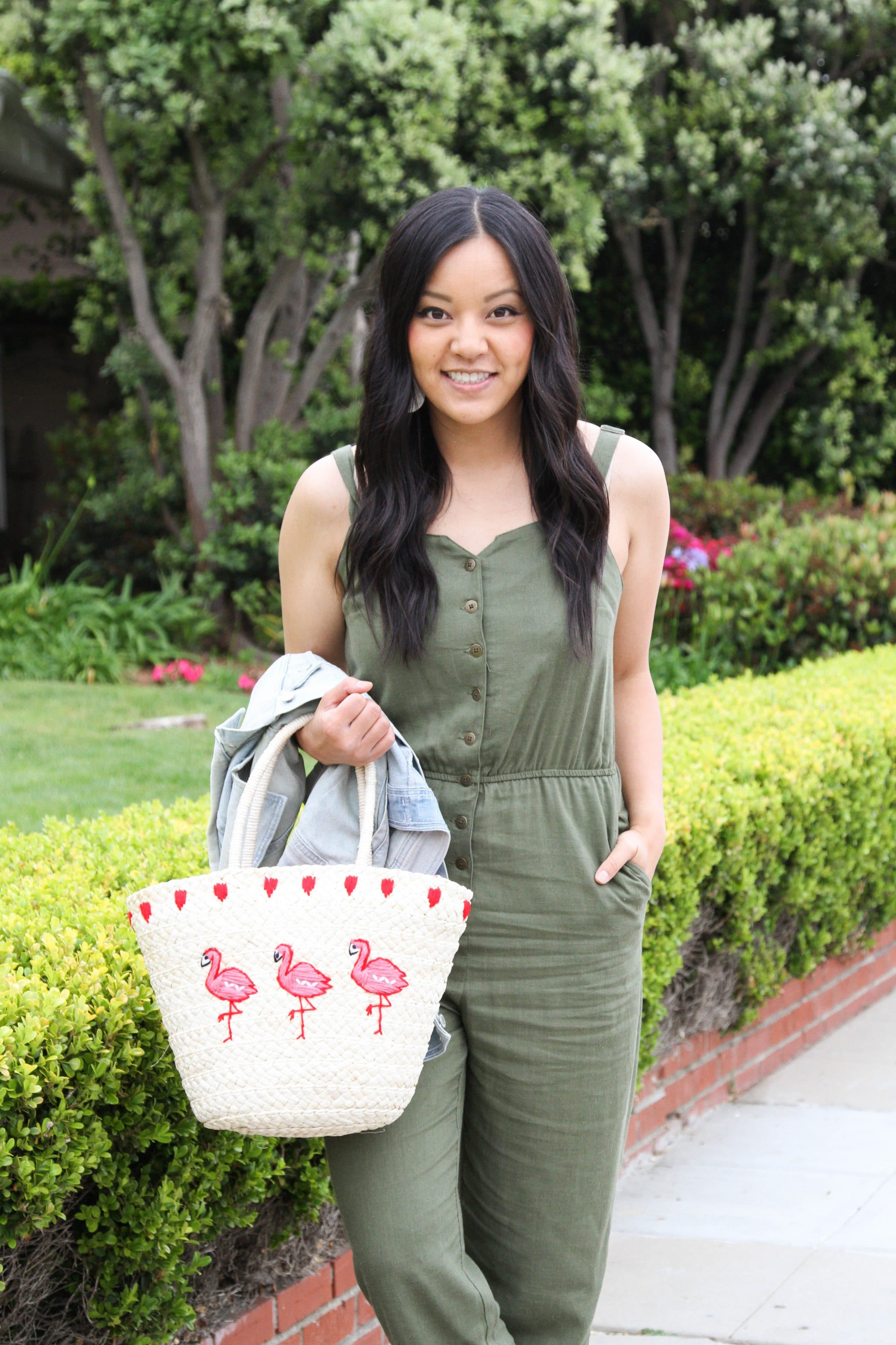 Summer Outfit: Olive Jumpsuit + Straw Tote