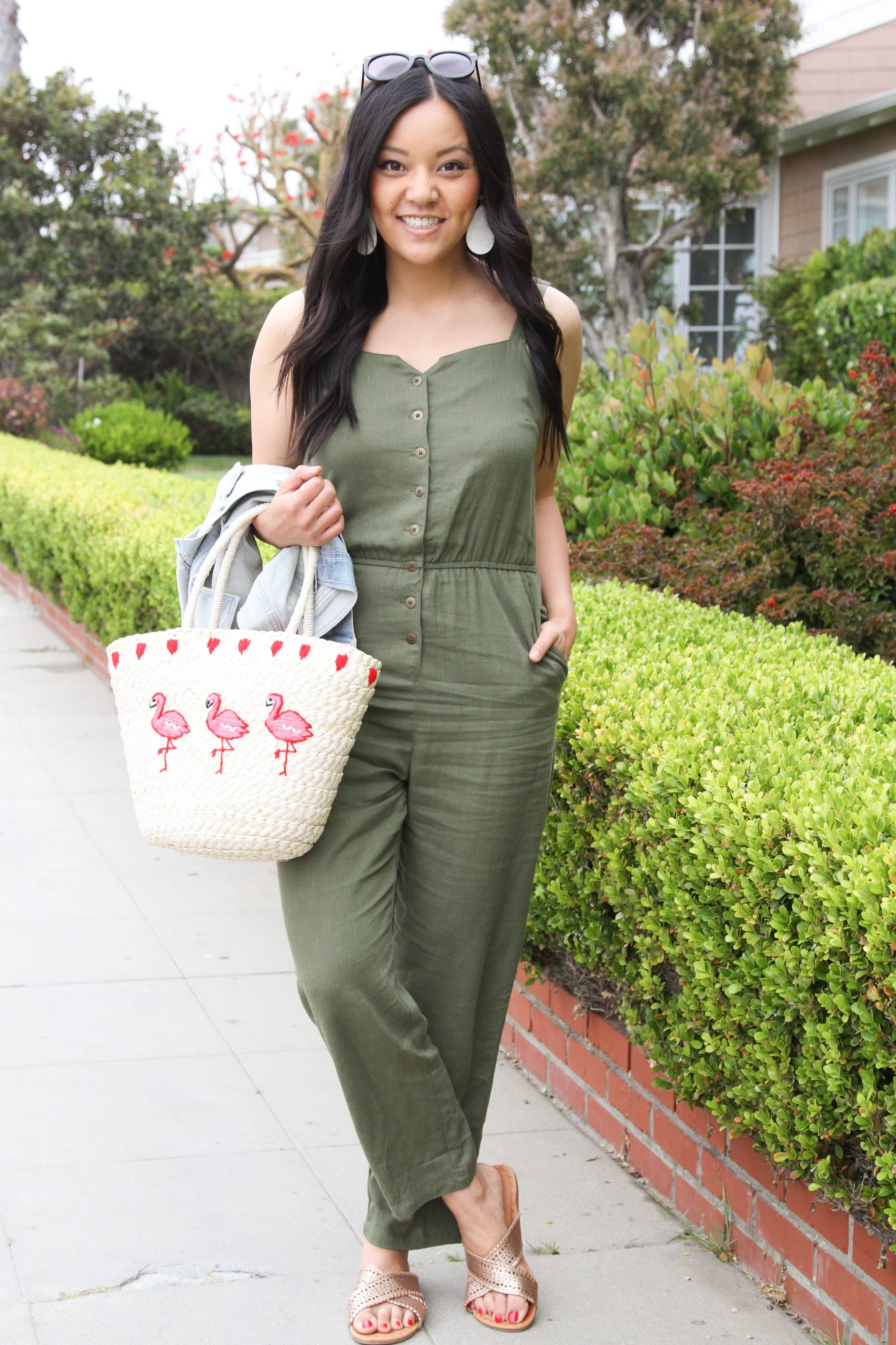 Straw Tote + Gold Sandals + Green Jumpsuit + Statement Earrings