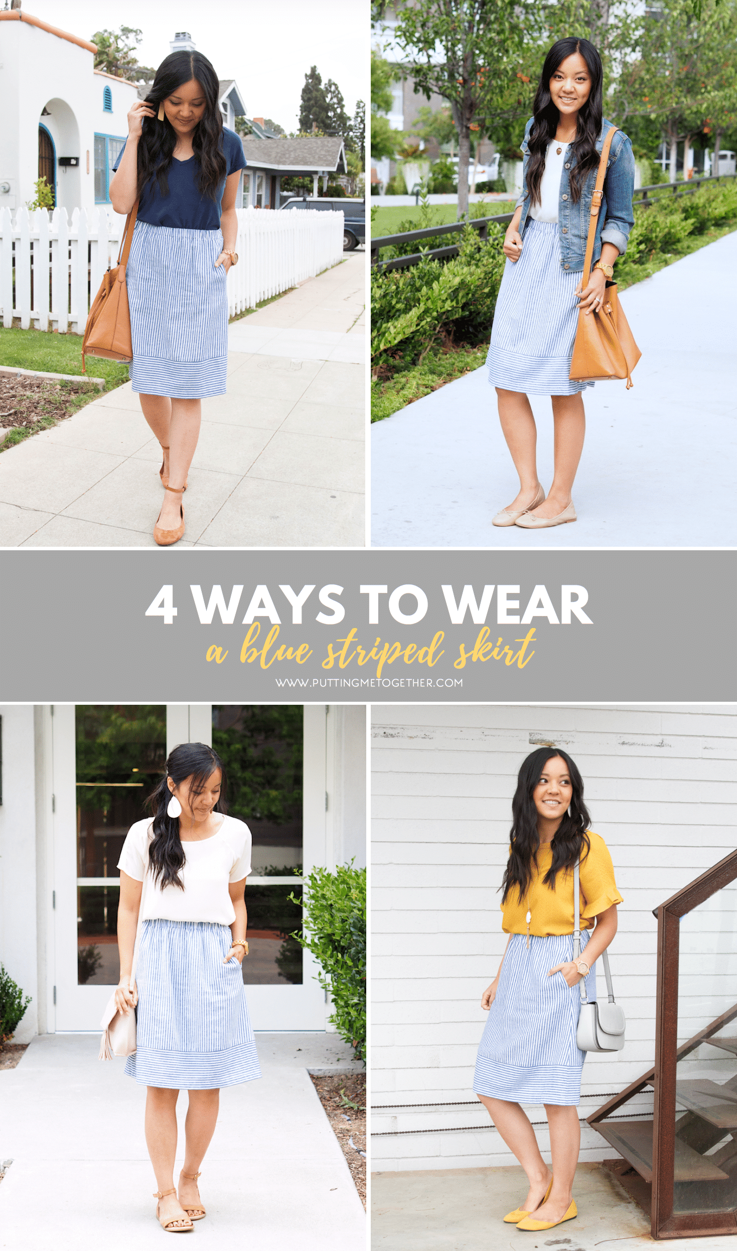 Four Outfits with the J.Crew Factory Blue Striped Skirt