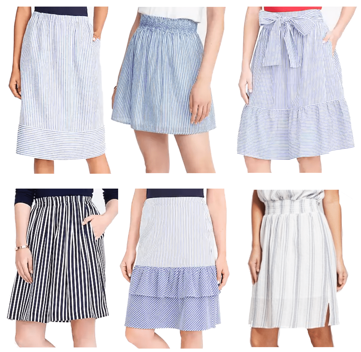 4 Outfits With a Blue Striped Skirt