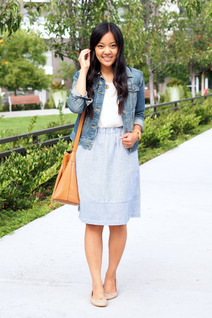 blue striped skirt + white top + denim jacket + nude flats