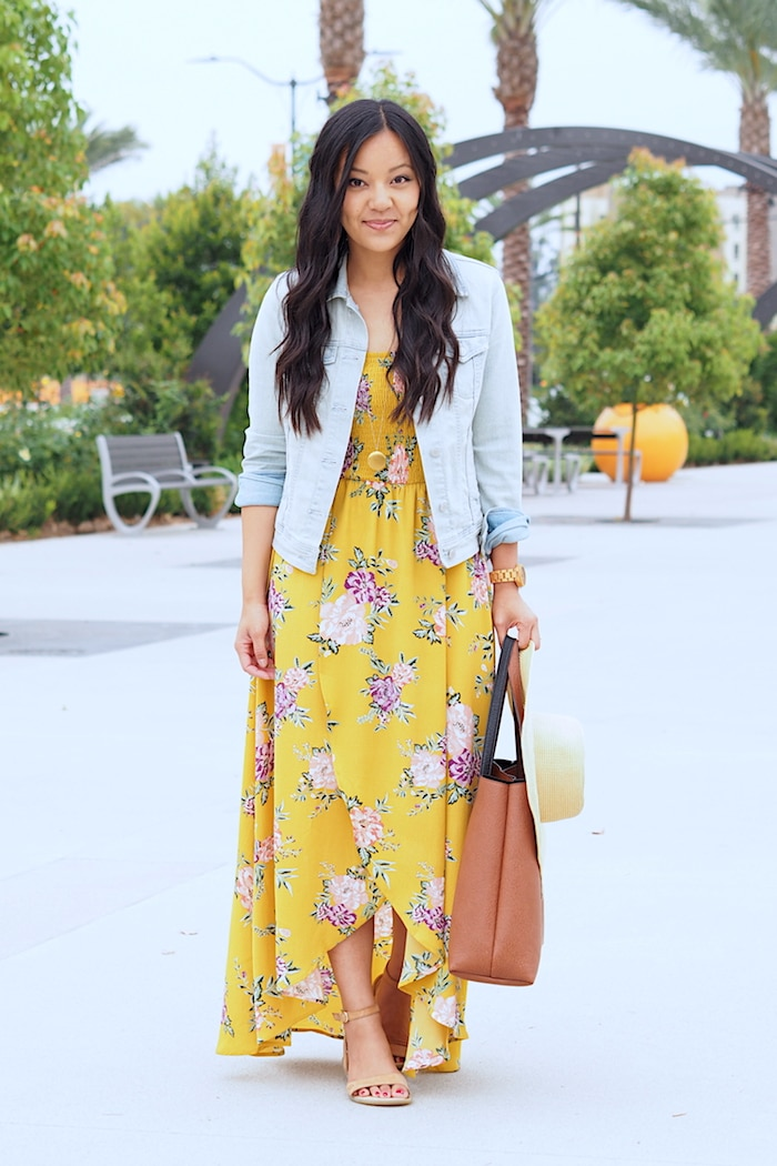 Nursing Friendly - Strapless Floral Print Maxi Dress
