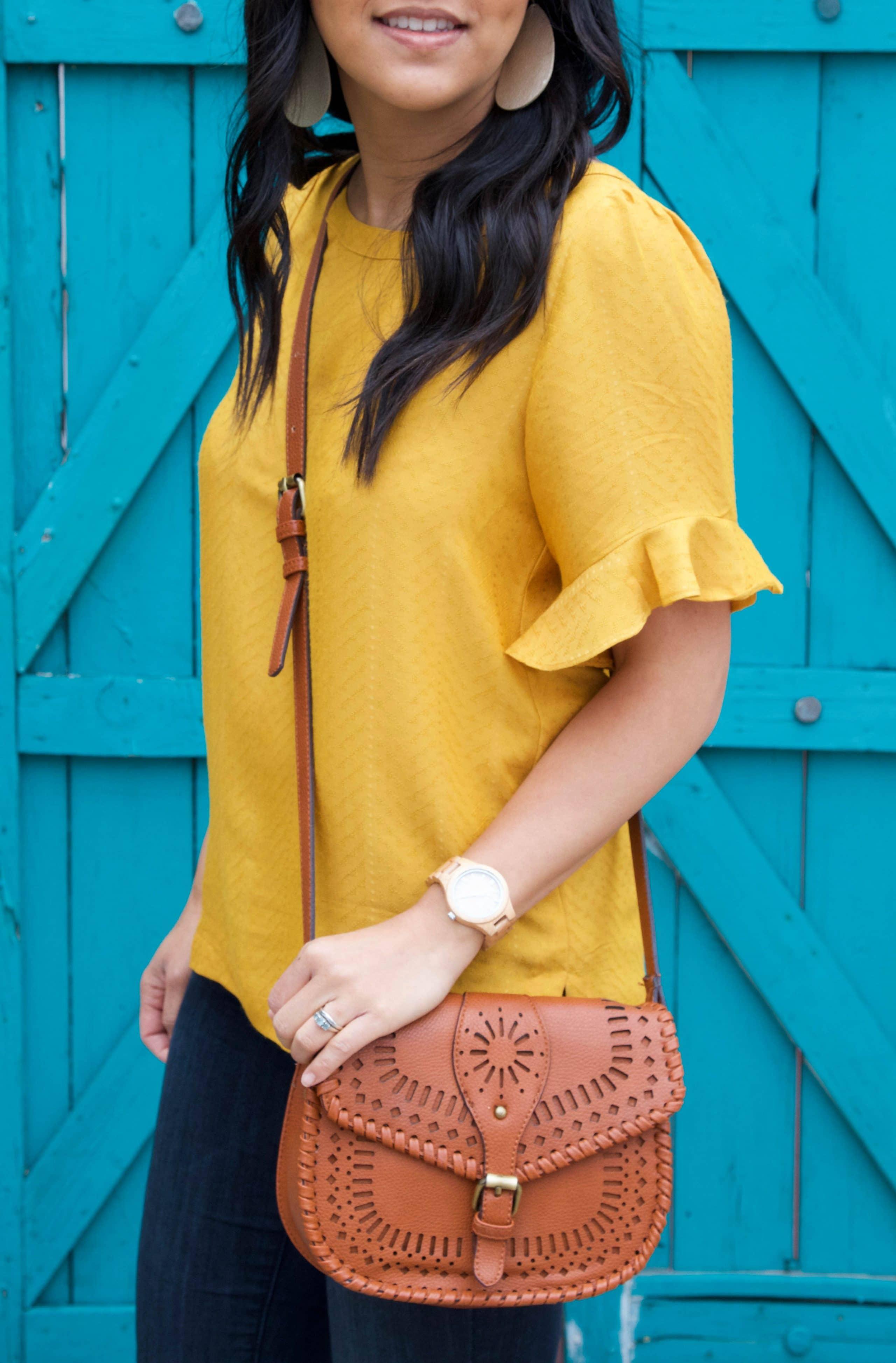 Marigold Blouse + Cognac Bag + Jeans