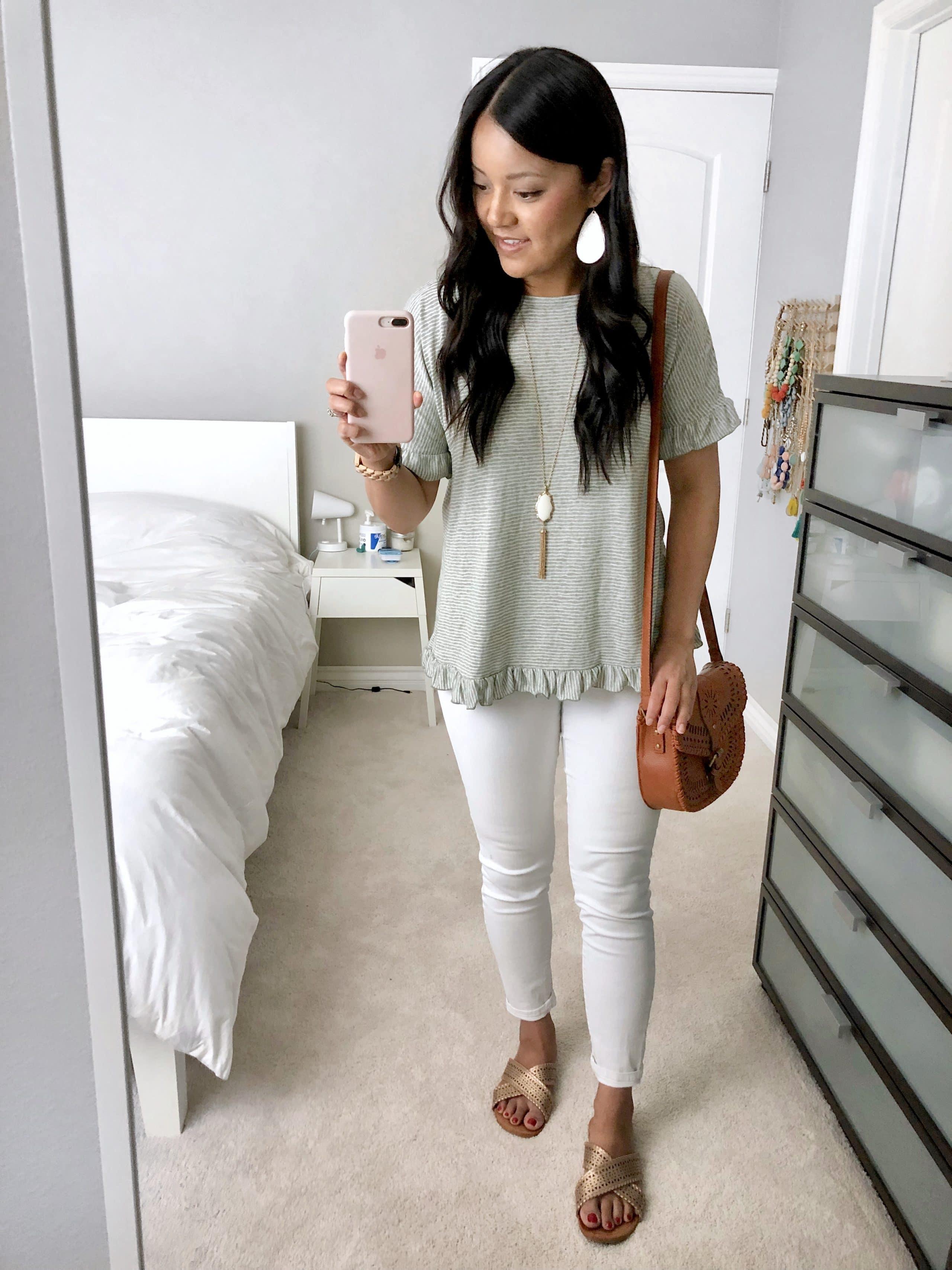Striped Ruffle Top + White Jeans + White Accessories