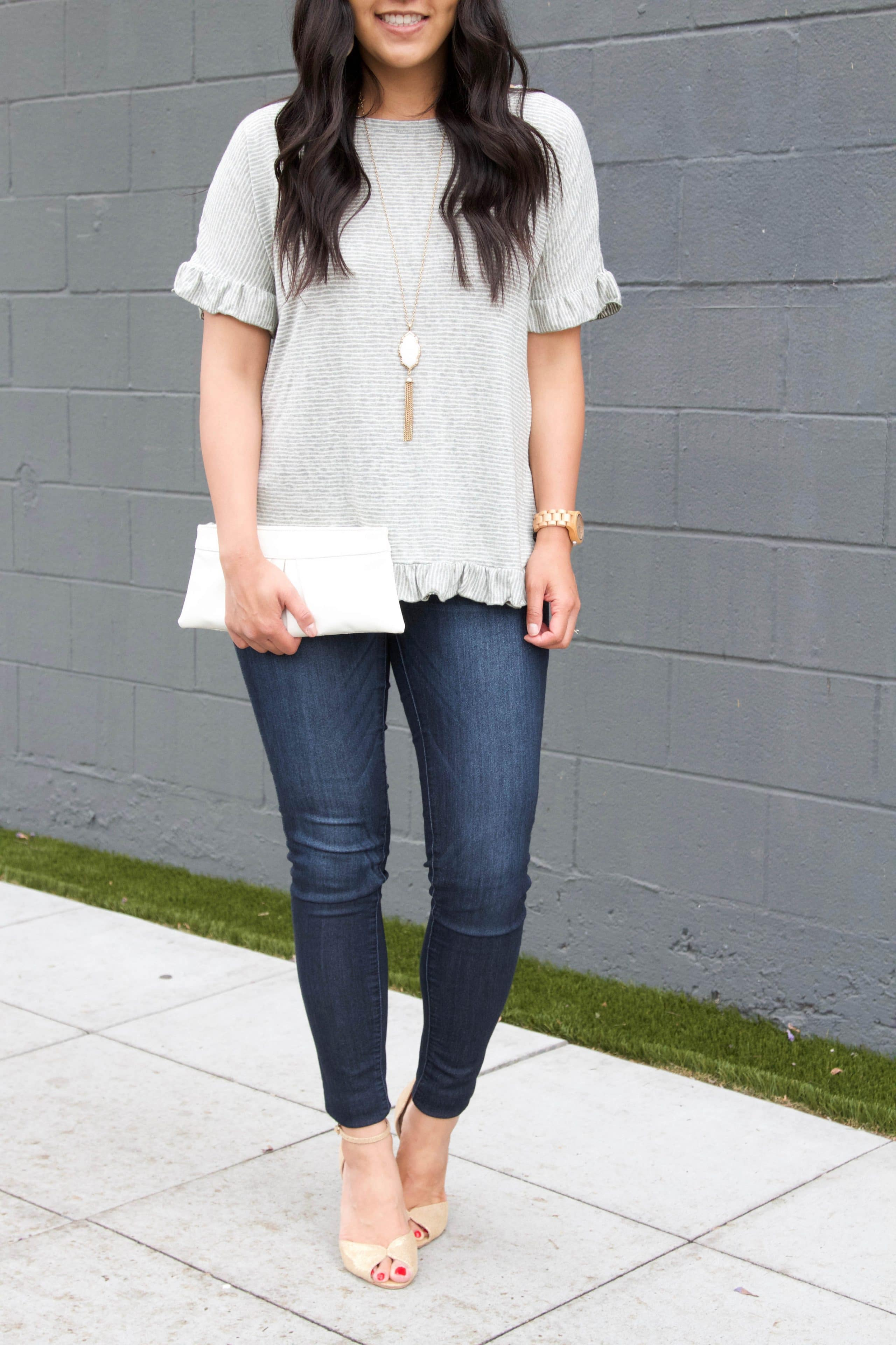 Skinnies + Ruffle Top + Gold Pumps + White Necklace