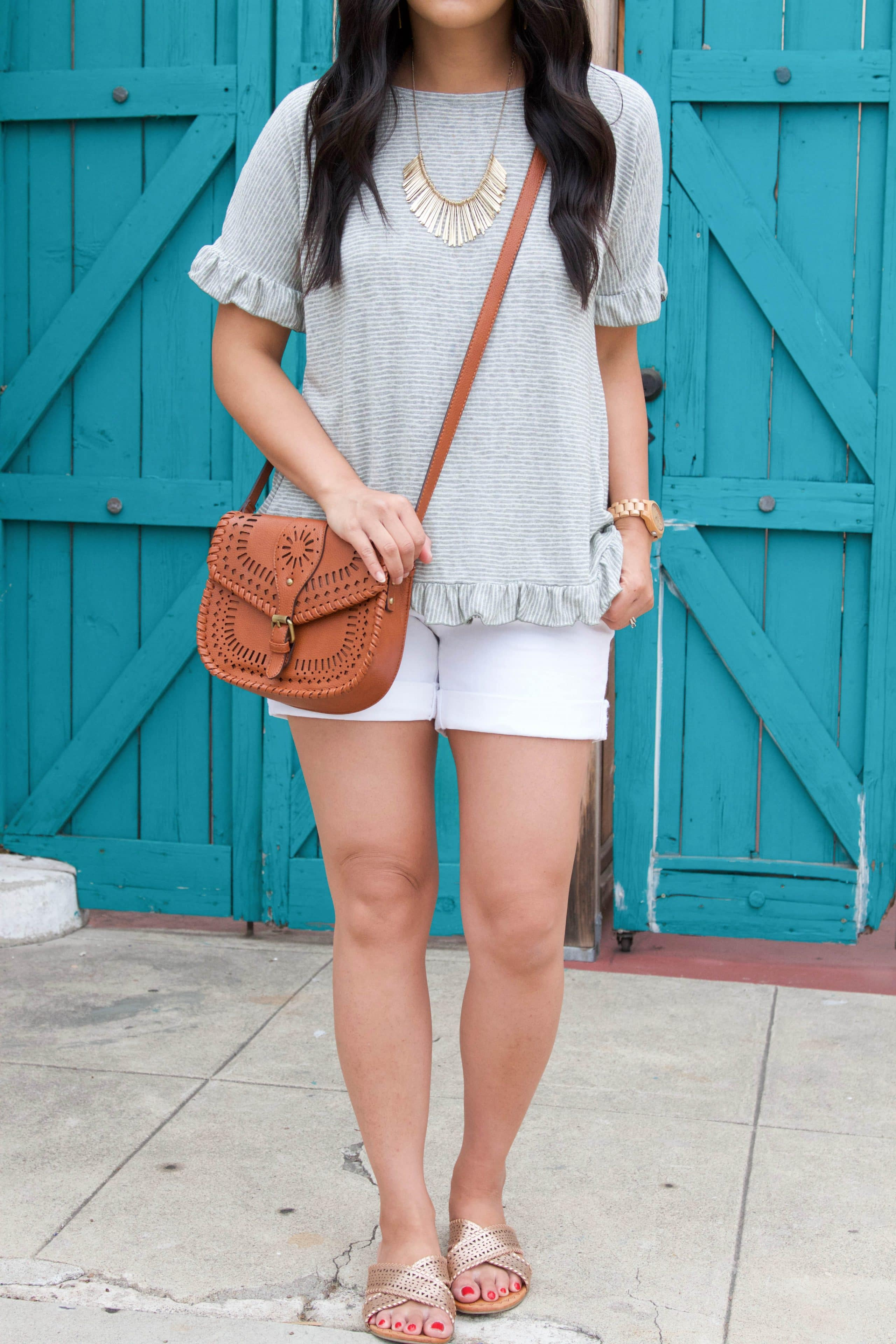 Gold Slides + Gold Necklace + Ruffle Top + White Shorts