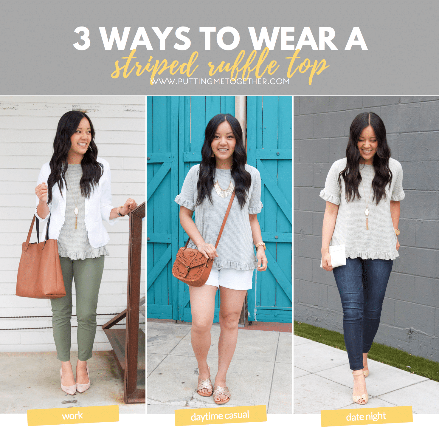 dca6cd6033a 3 Ways to Wear an Olive Striped Ruffle Top  Work