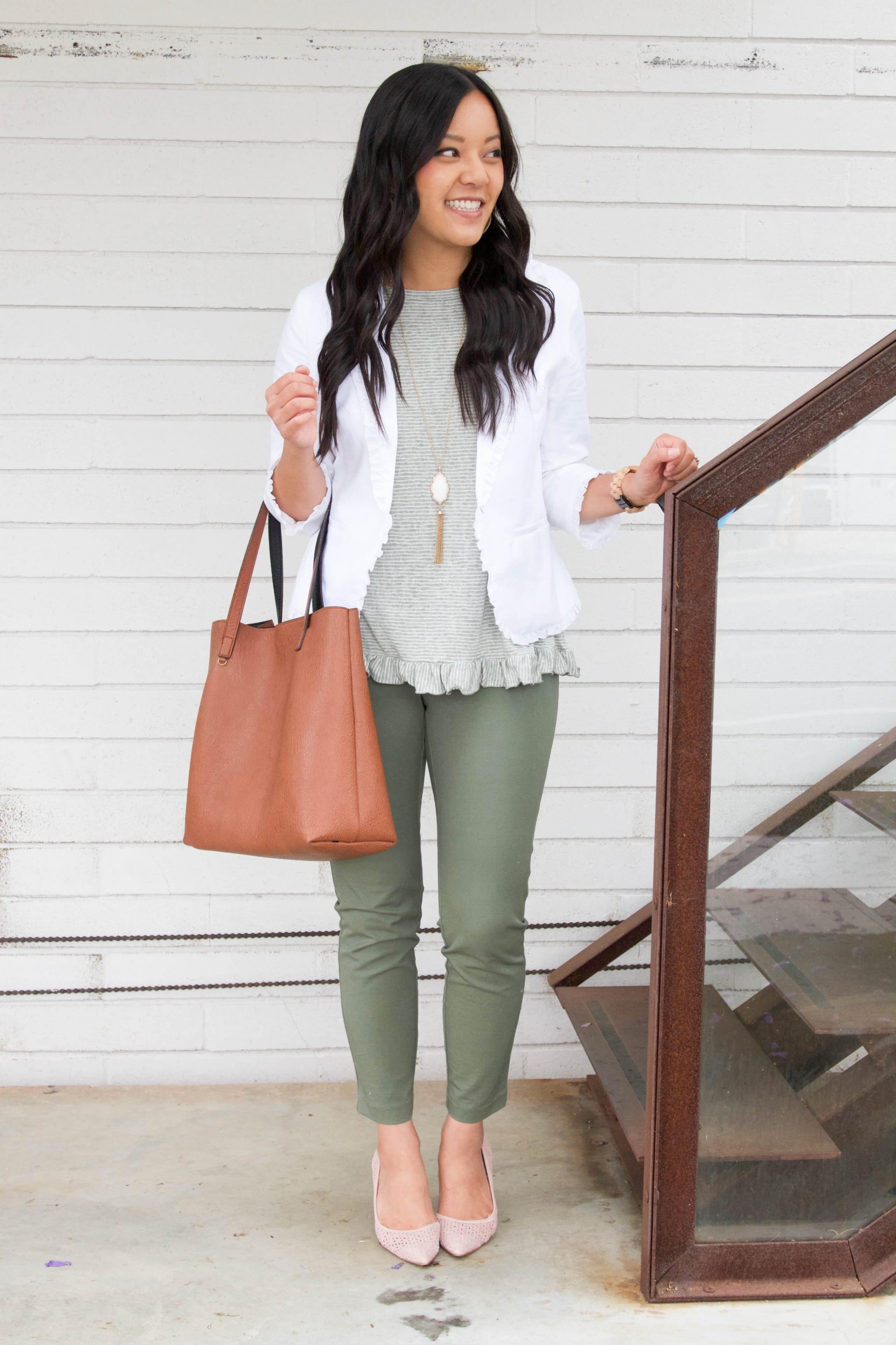 White Blazer + Olive Pants + Ruffle Top + Blush Pumps + White Necklace