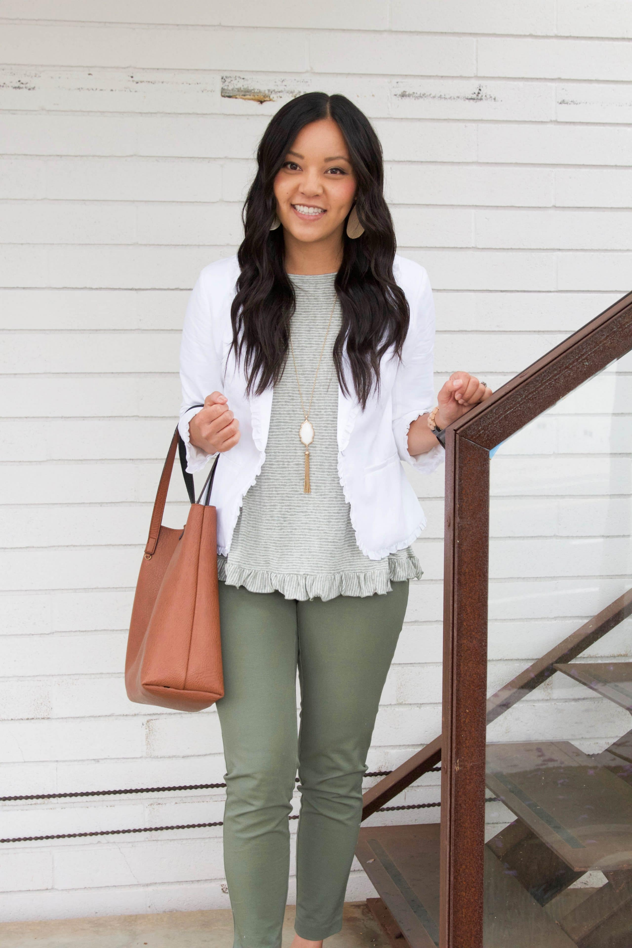 White Blazer + Cognac Bag + Olive Pants + Statement Earrings