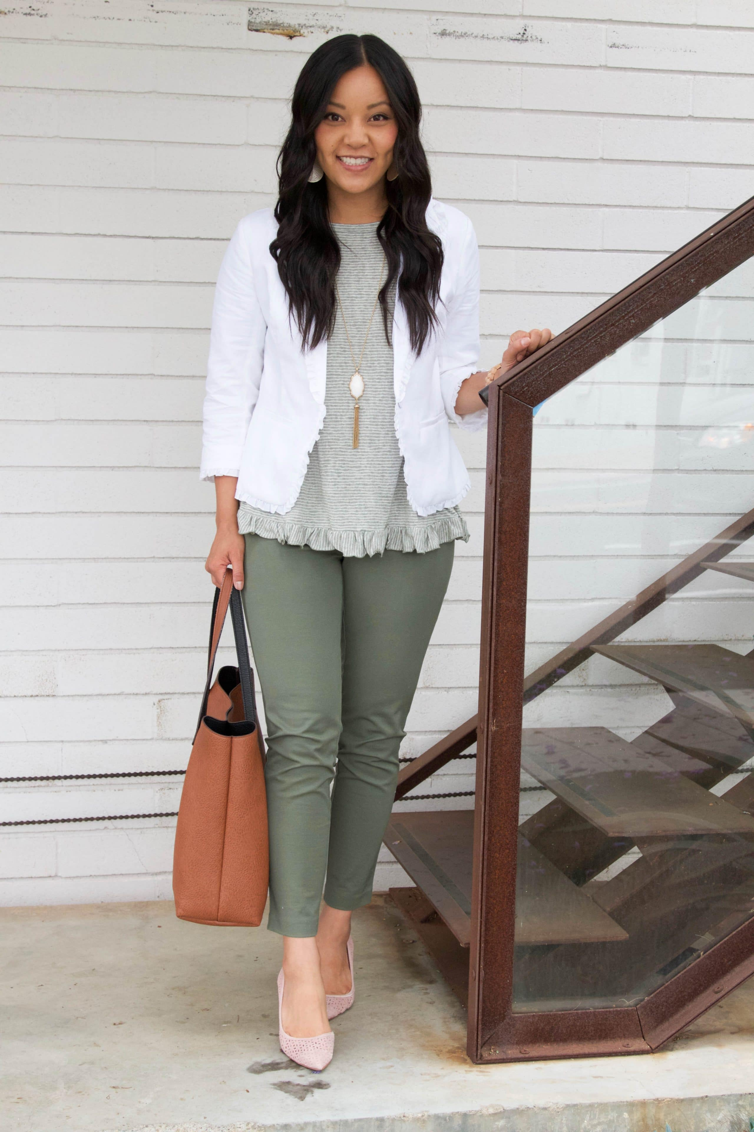 White Blazer + Ruffle Top + Olive Pants + Blush Heels