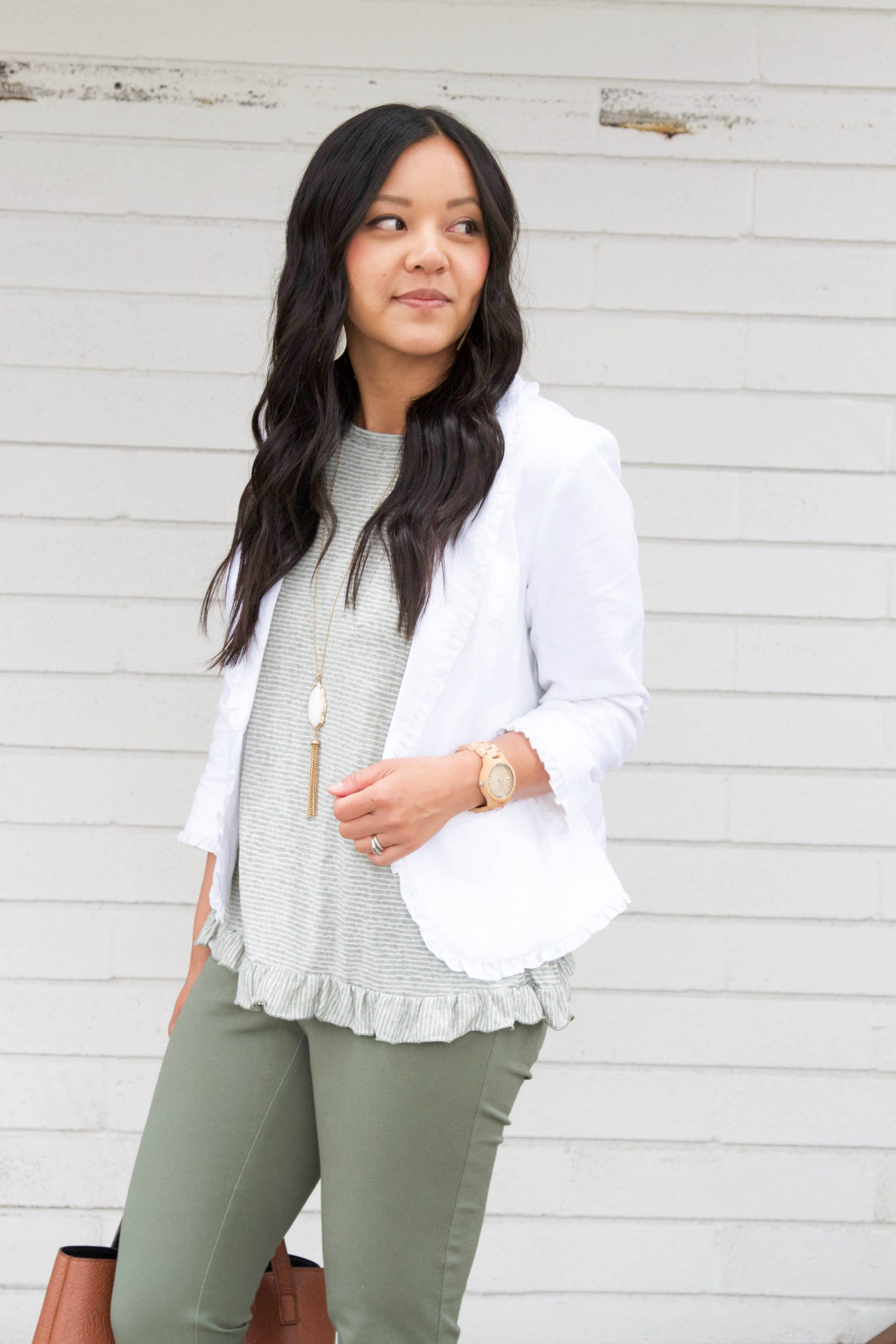 White Blazer + Ruffle Stripe top + White necklace