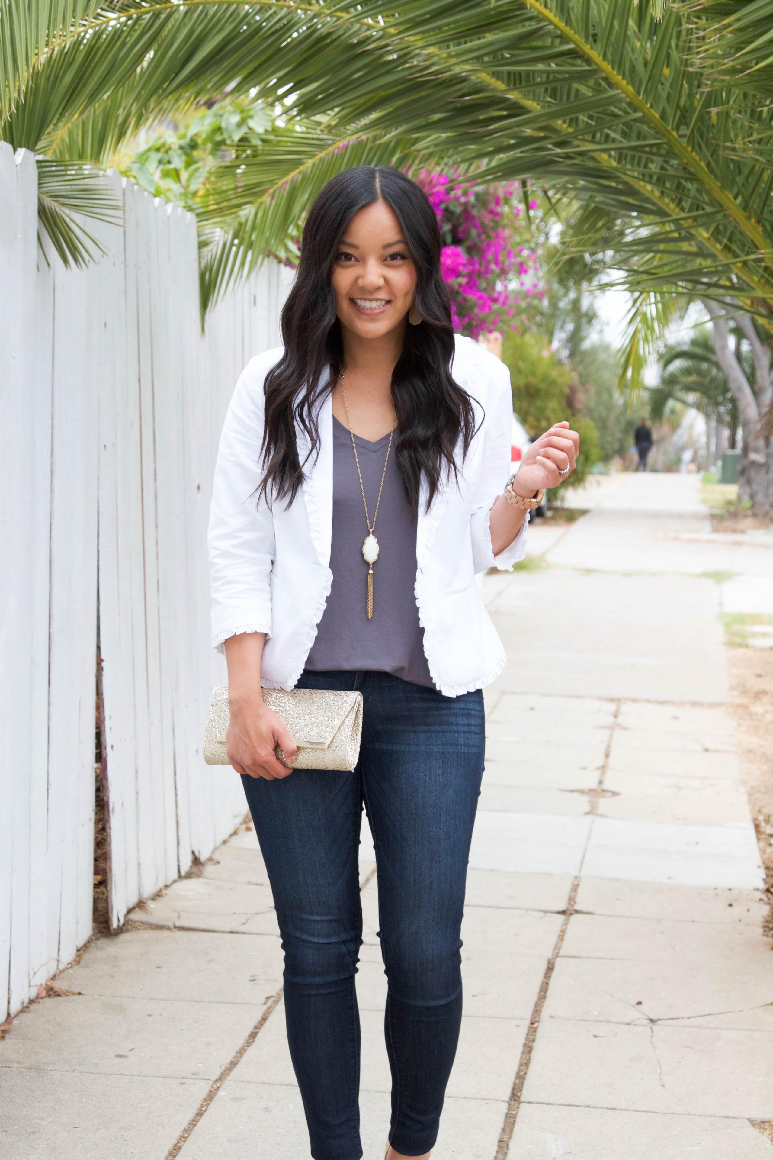 Grey Tank + White Blazer + White Necklace + Gold Clutch + Skinnies