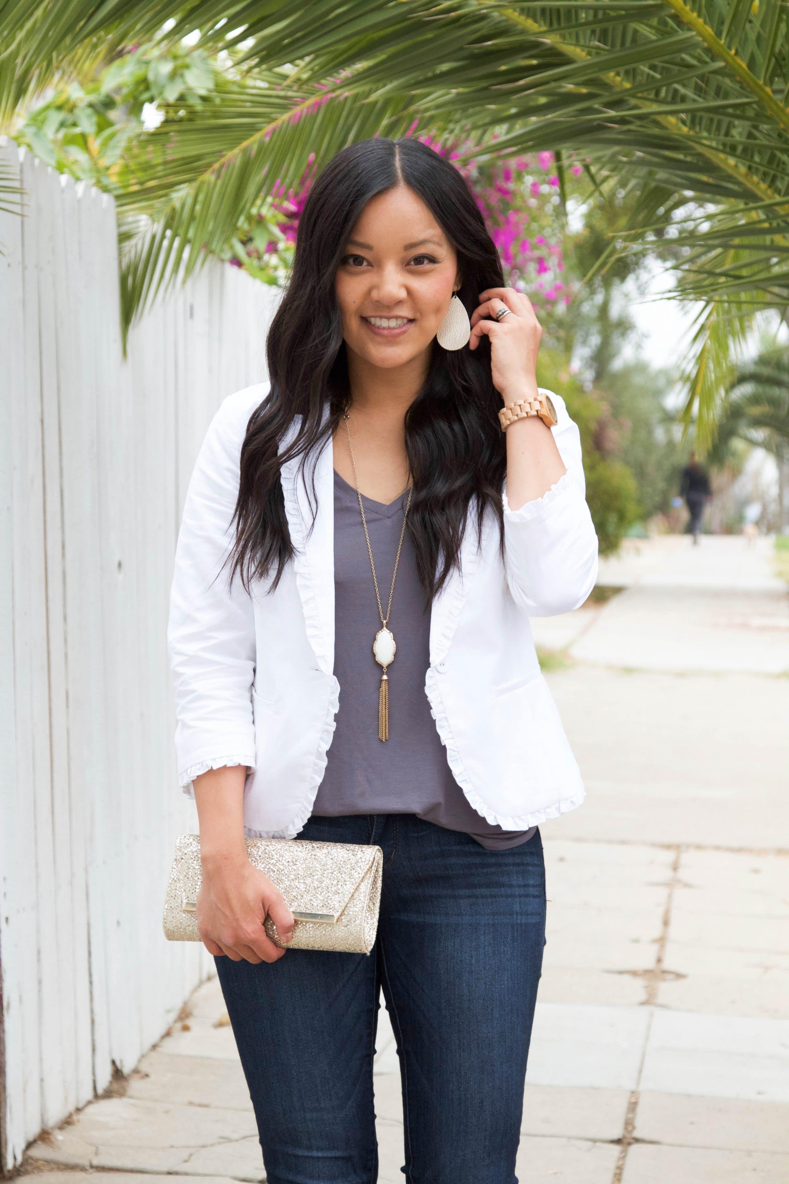 White Blazer + Grey Tank + White Necklace + Skinnies