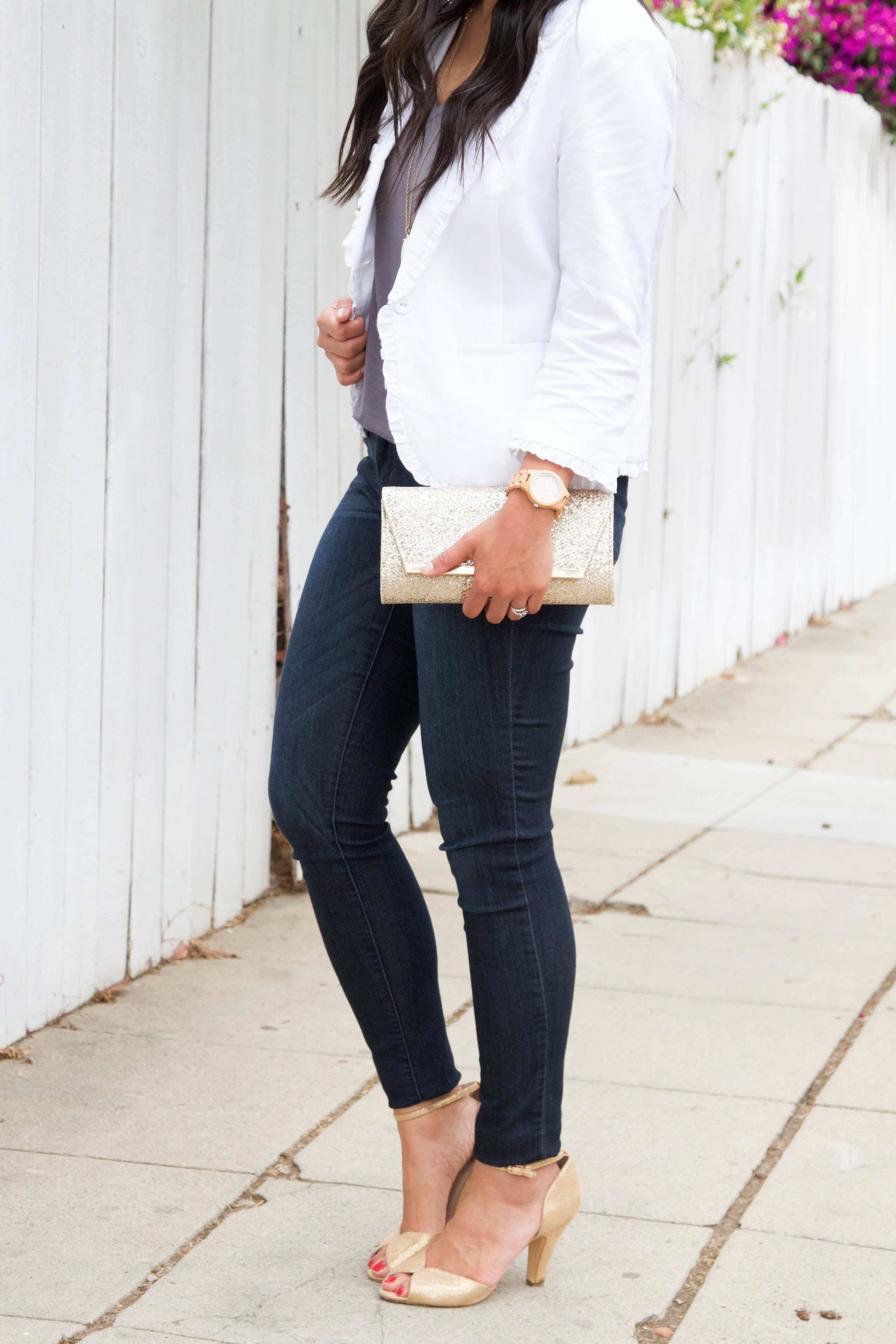White Blazer + Gold Clutch + Jord Watch + Gold Heels + Skinnies