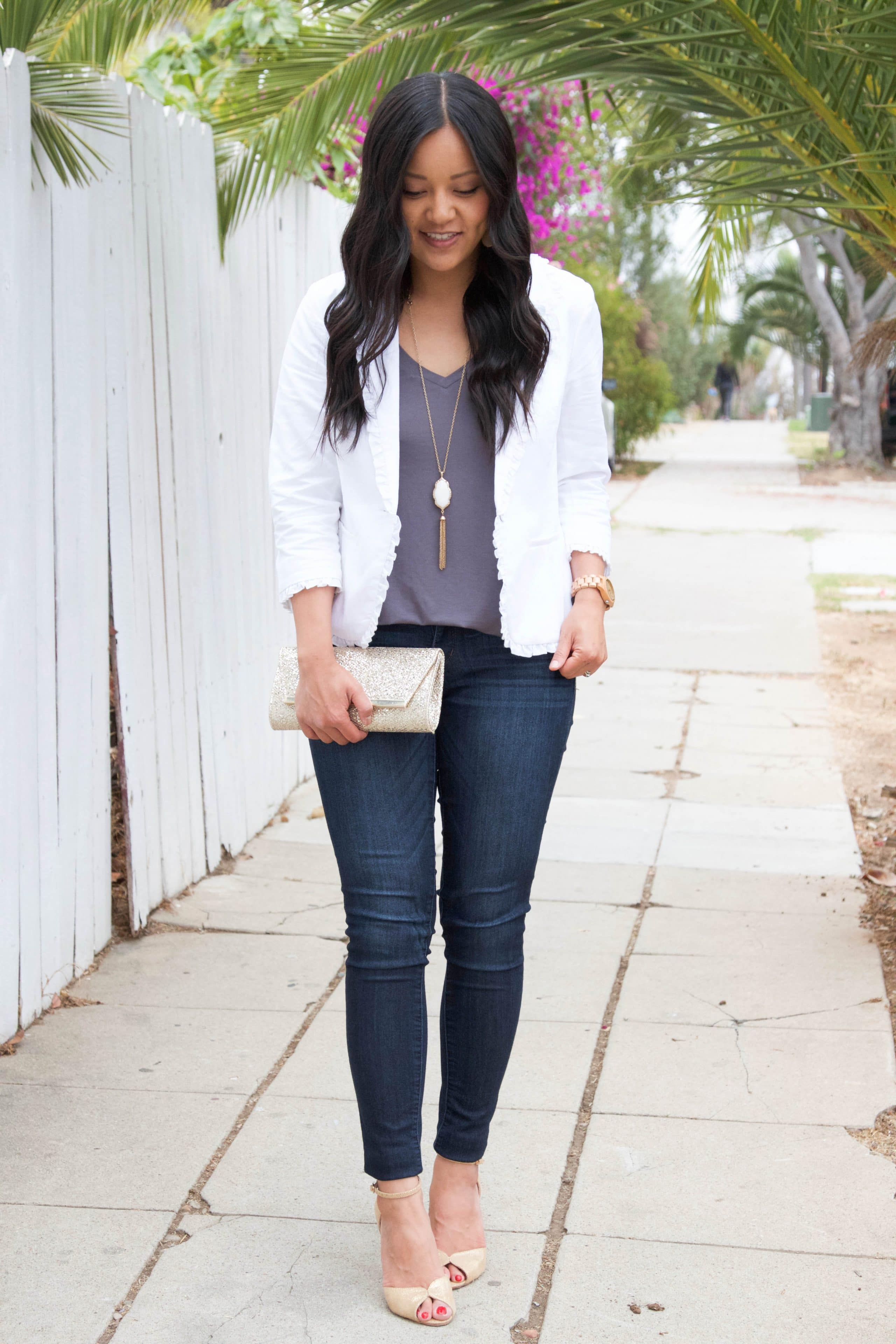 White Blazer + Skinnies + Gold Pumps + Gold Clutch + White Necklace